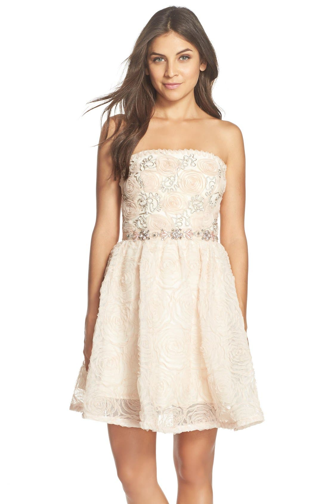 Alternate Image 1 Selected - Adrianna PapellEmbellished Tulle Fit & Flare Dress