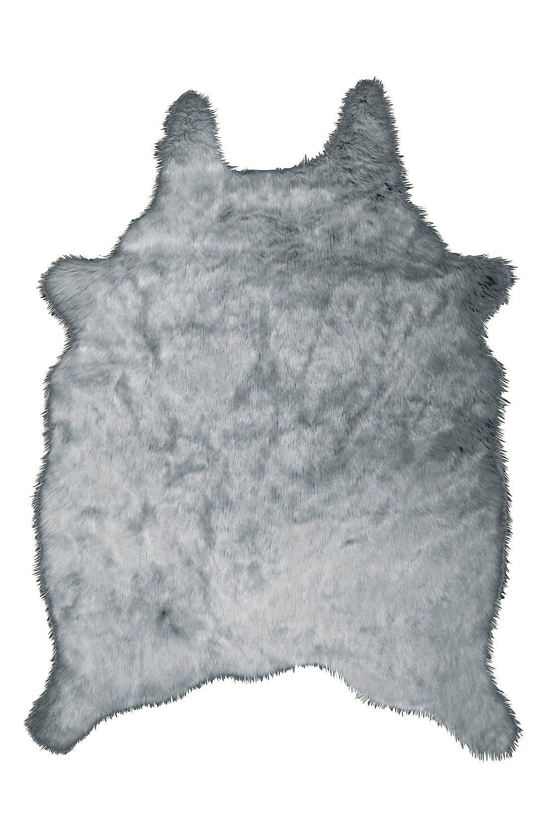 FauxFur Freeform Rug,                         Main,                         color, Silver Grey