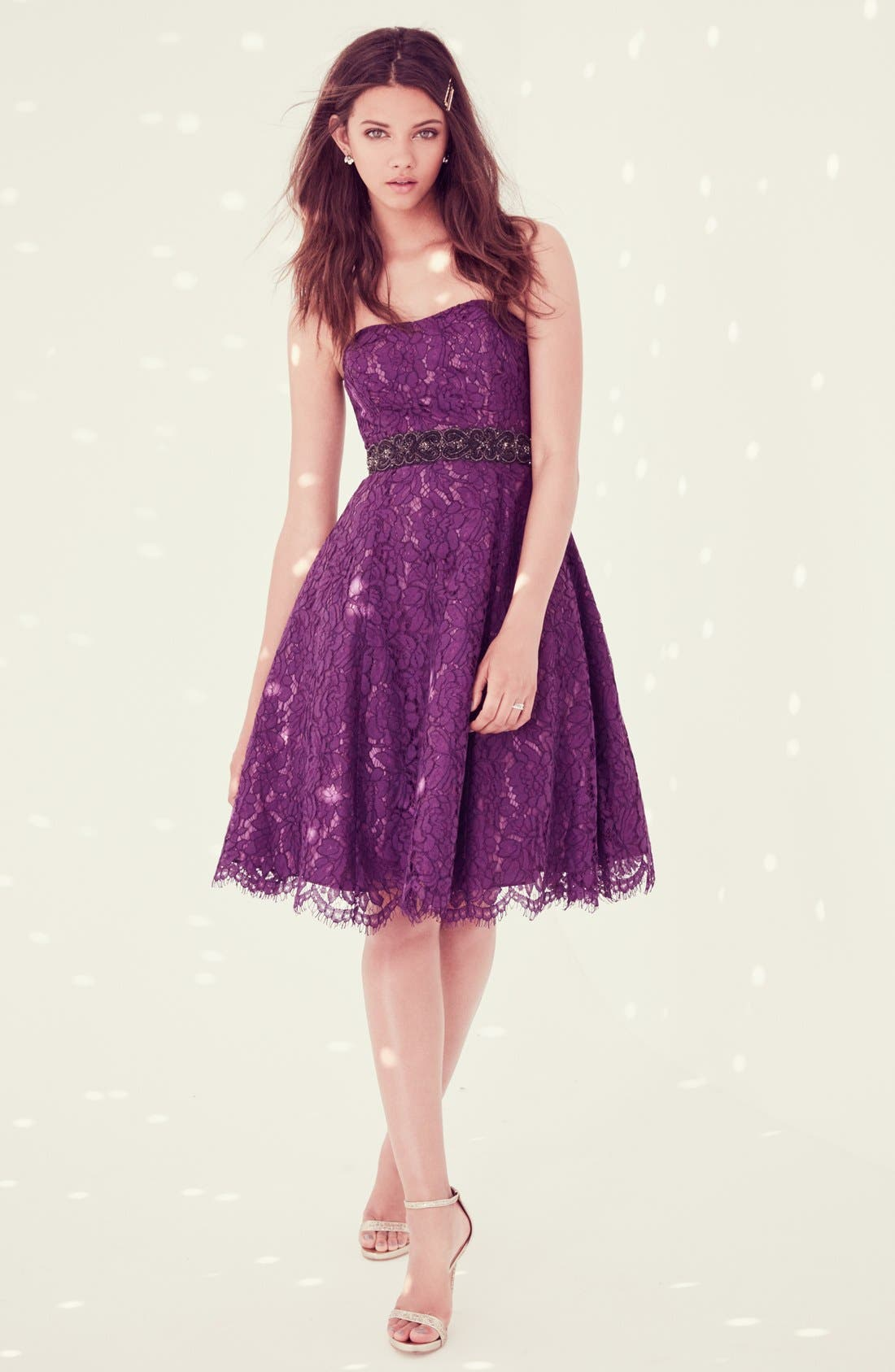 Alternate Image 4  - Soprano Strapless Lace Fit & Flare Midi Dress