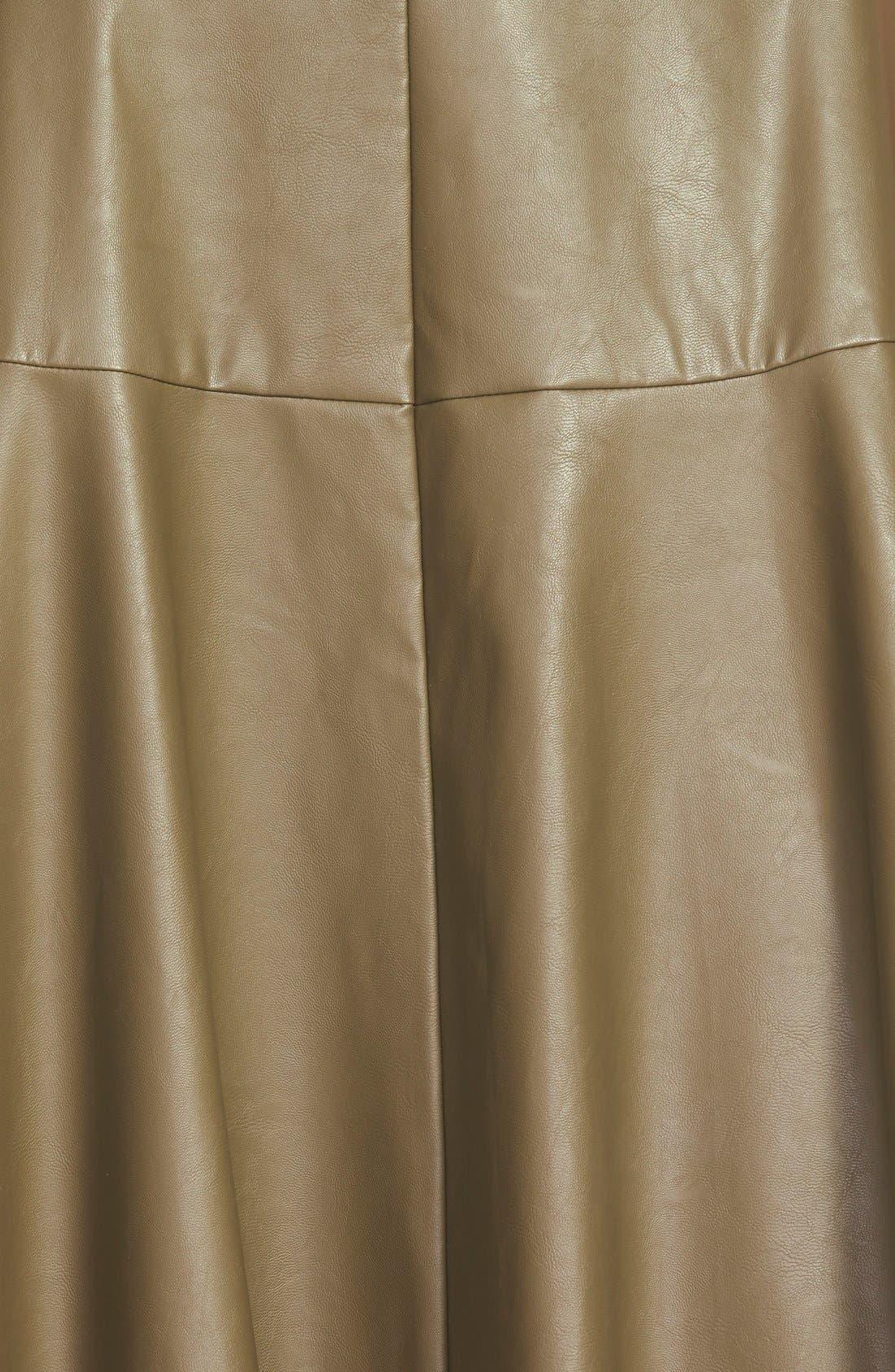 Faux Leather Midi Skirt,                             Alternate thumbnail 3, color,                             Olive