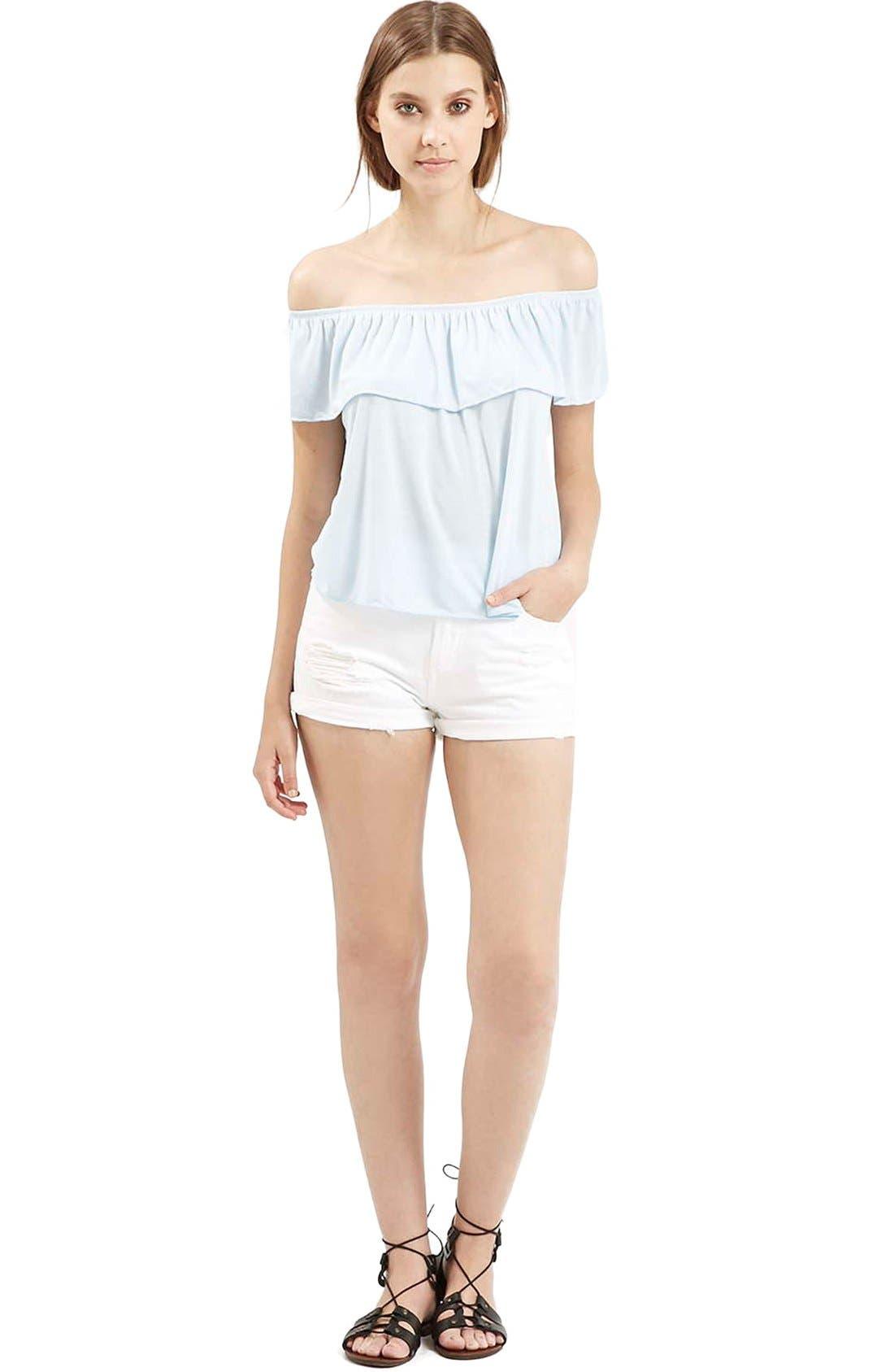 Alternate Image 2  - Topshop Moto 'Rosa' Ripped Denim Shorts (White)