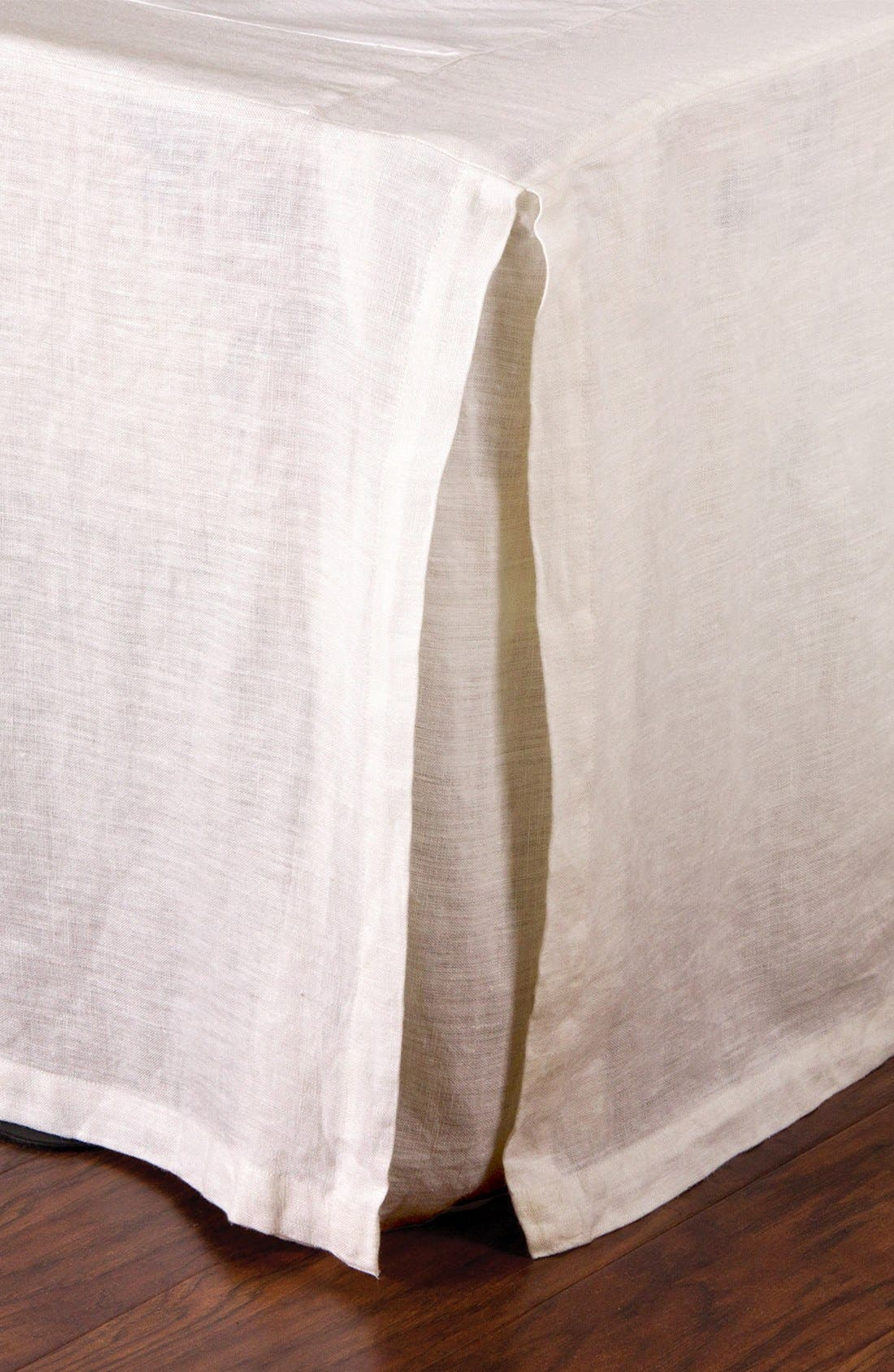 Pleated Linen Bed Skirt,                             Main thumbnail 1, color,                             Cream