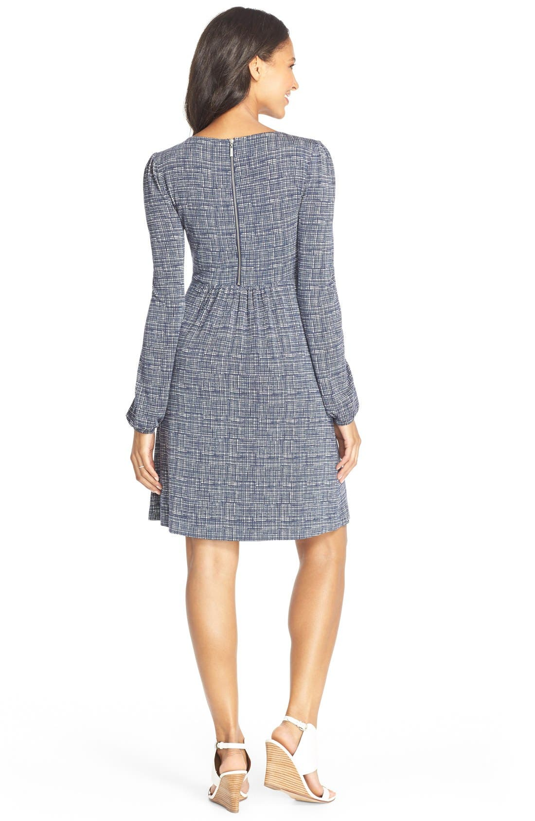 'Tatum' Geo Print Long Sleeve Maternity Dress,                             Alternate thumbnail 2, color,                             Sketched Grid