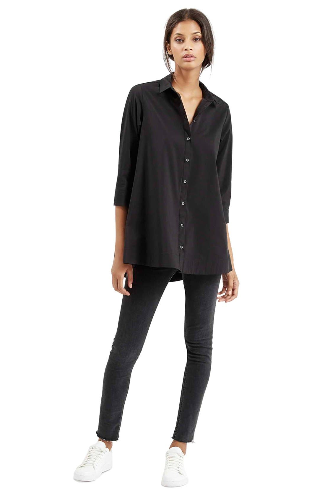 Alternate Image 2  - Topshop Oversize Poplin Shirt