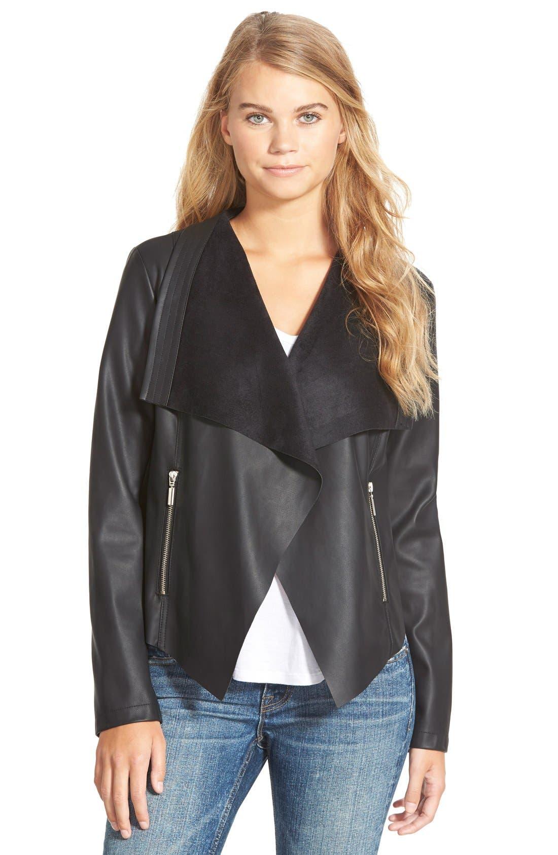 Faux Leather Drape Front Jacket,                         Main,                         color, Black