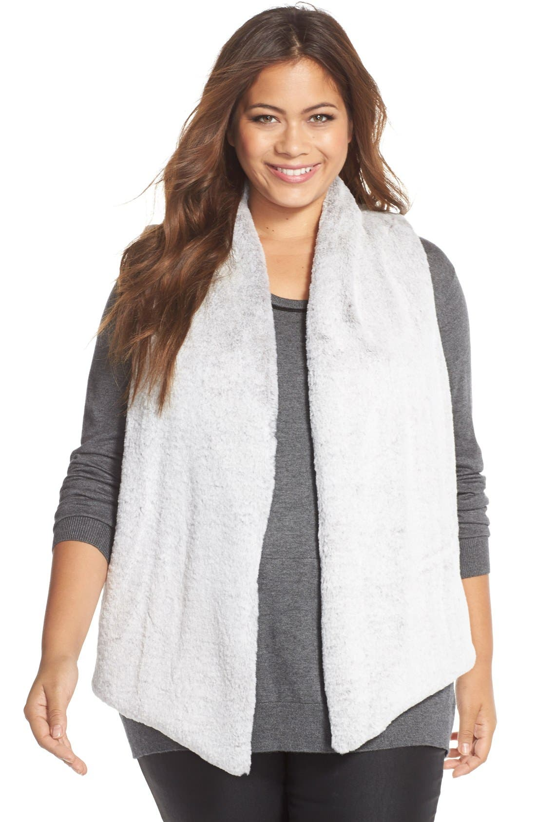 TART 'Kya' Faux Fur Vest in Natural Grey