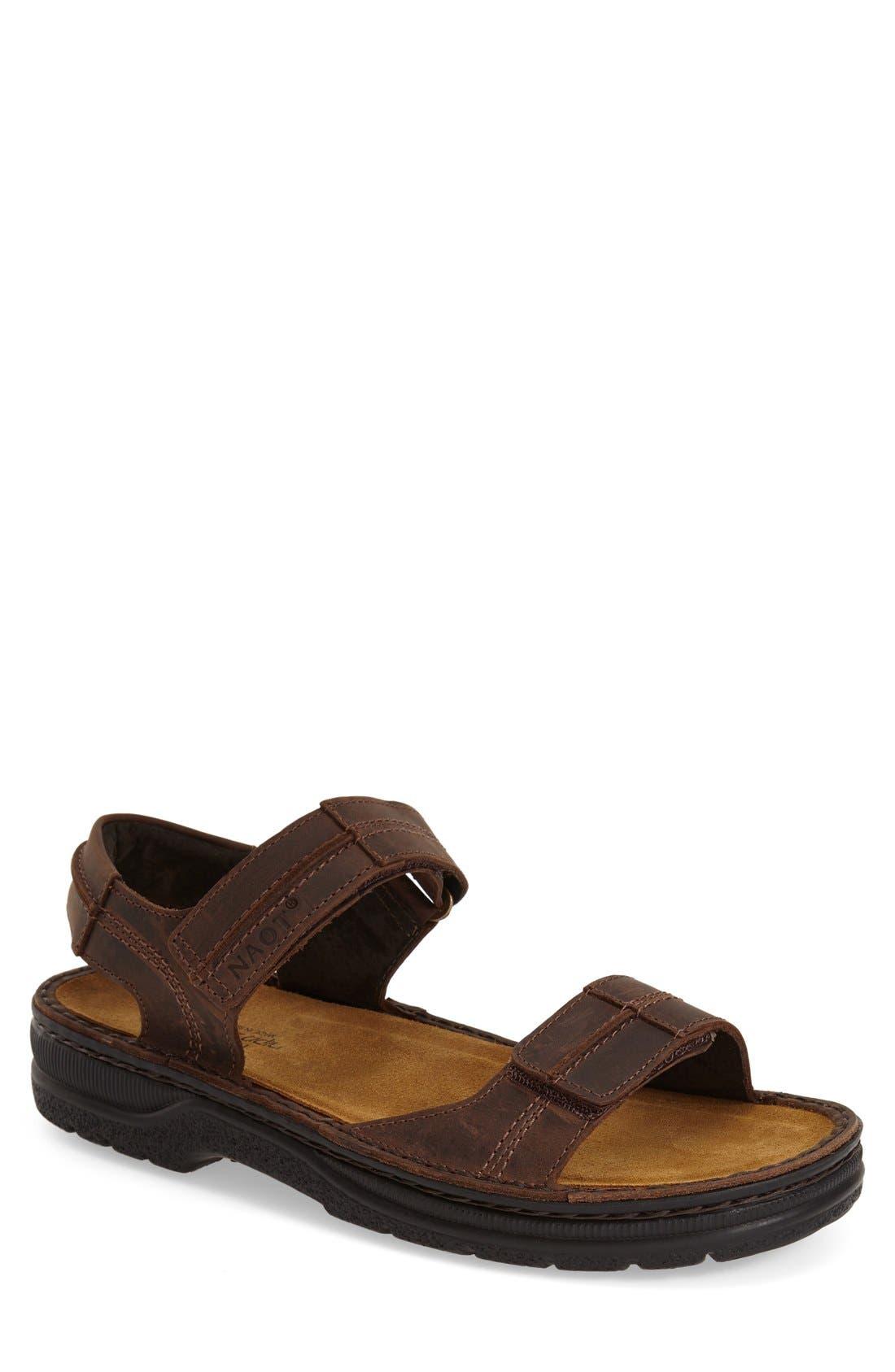 Balkan Sandal,                         Main,                         color, Brown Leather