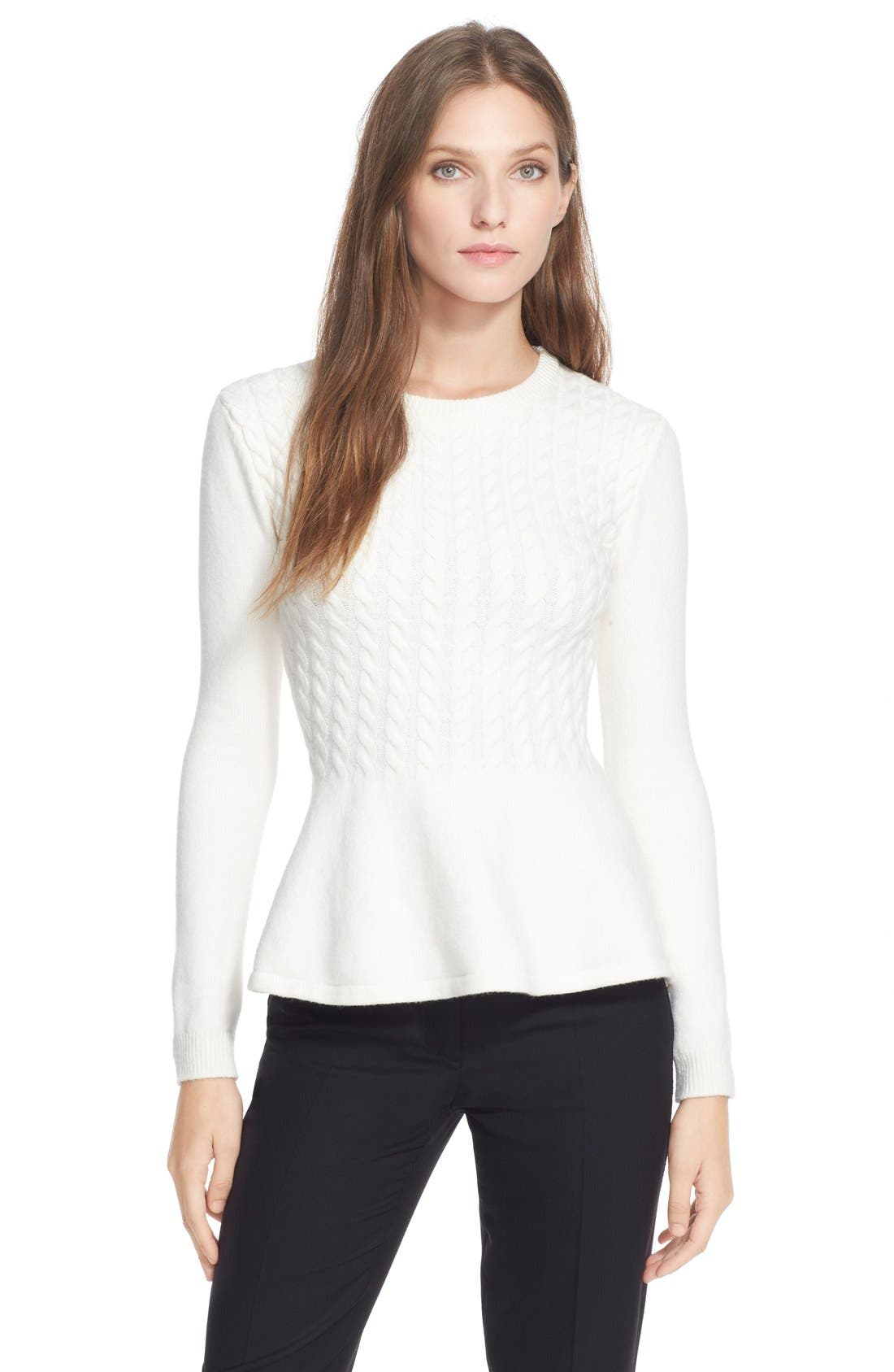 Alternate Image 1 Selected - Ted Baker London 'Mereda' Cable Knit Peplum Sweater