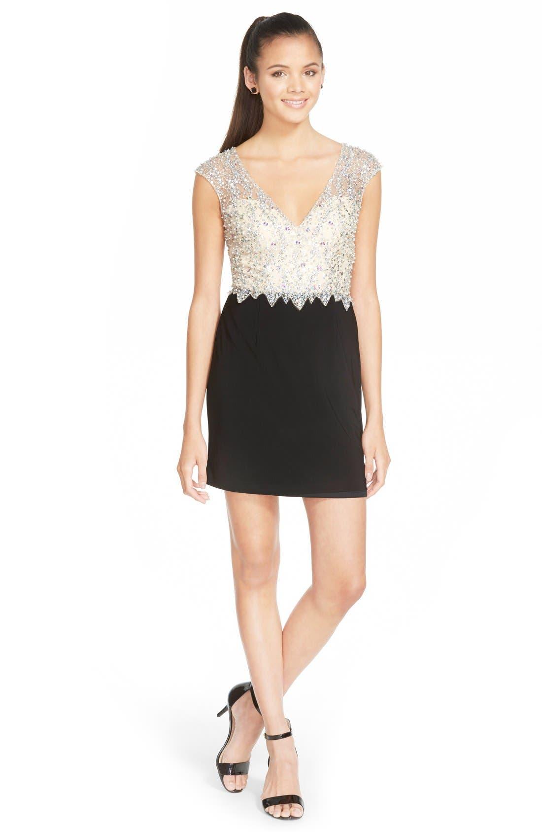 Alternate Image 3  - Sean Collection Embellished Mesh & Jersey Minidress