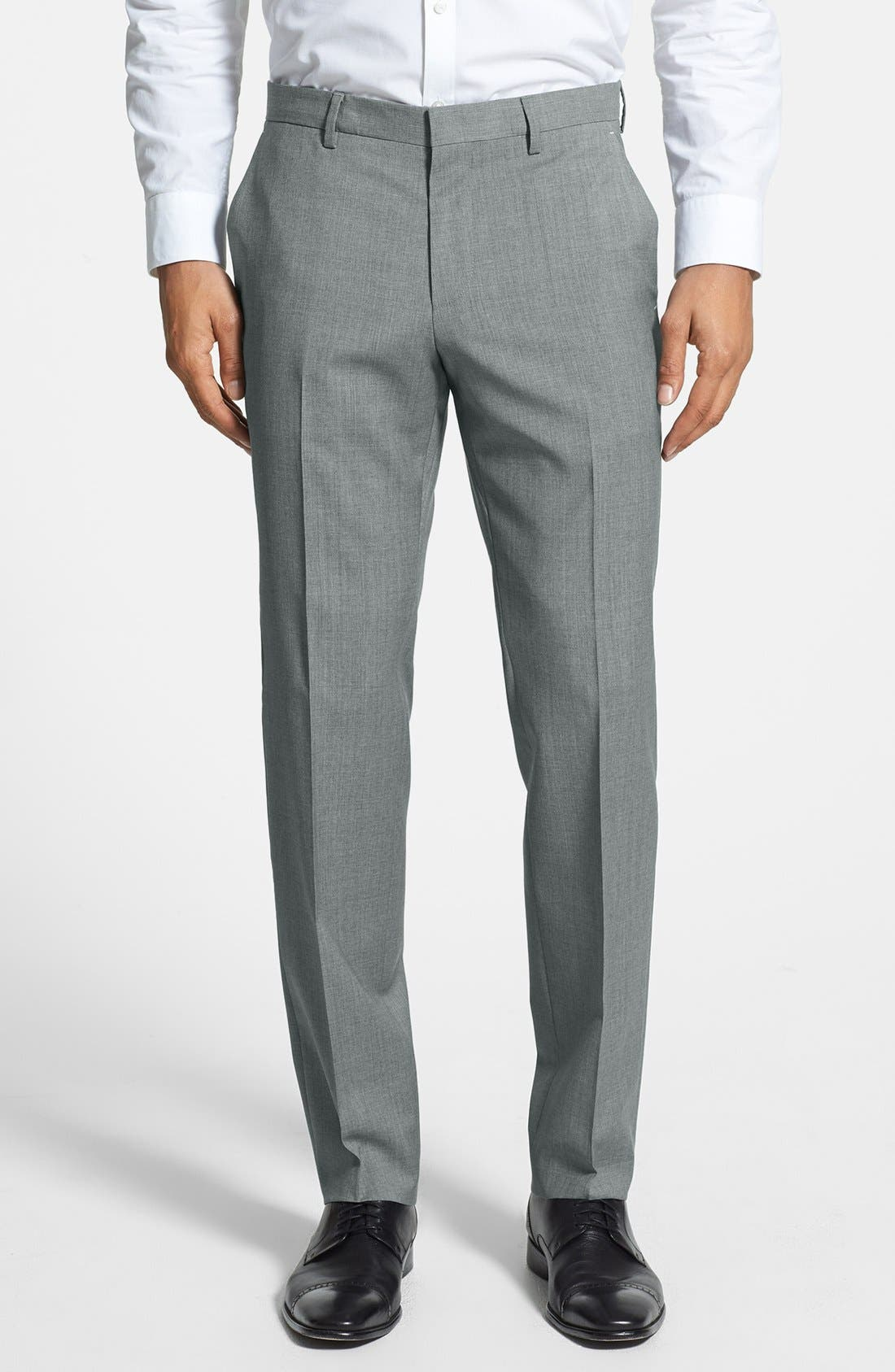 BOSS Genesis Slim-Fit Wool Trousers, Light Gray in Grey