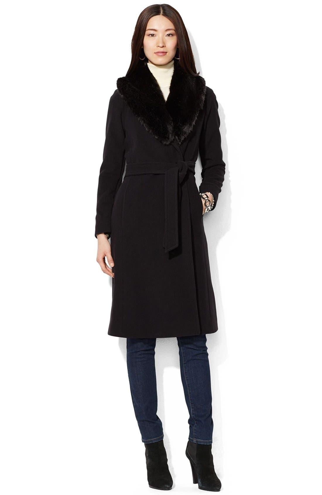Main Image - Lauren Ralph Lauren FauxFur Collar Long Wool Blend Wrap Coat