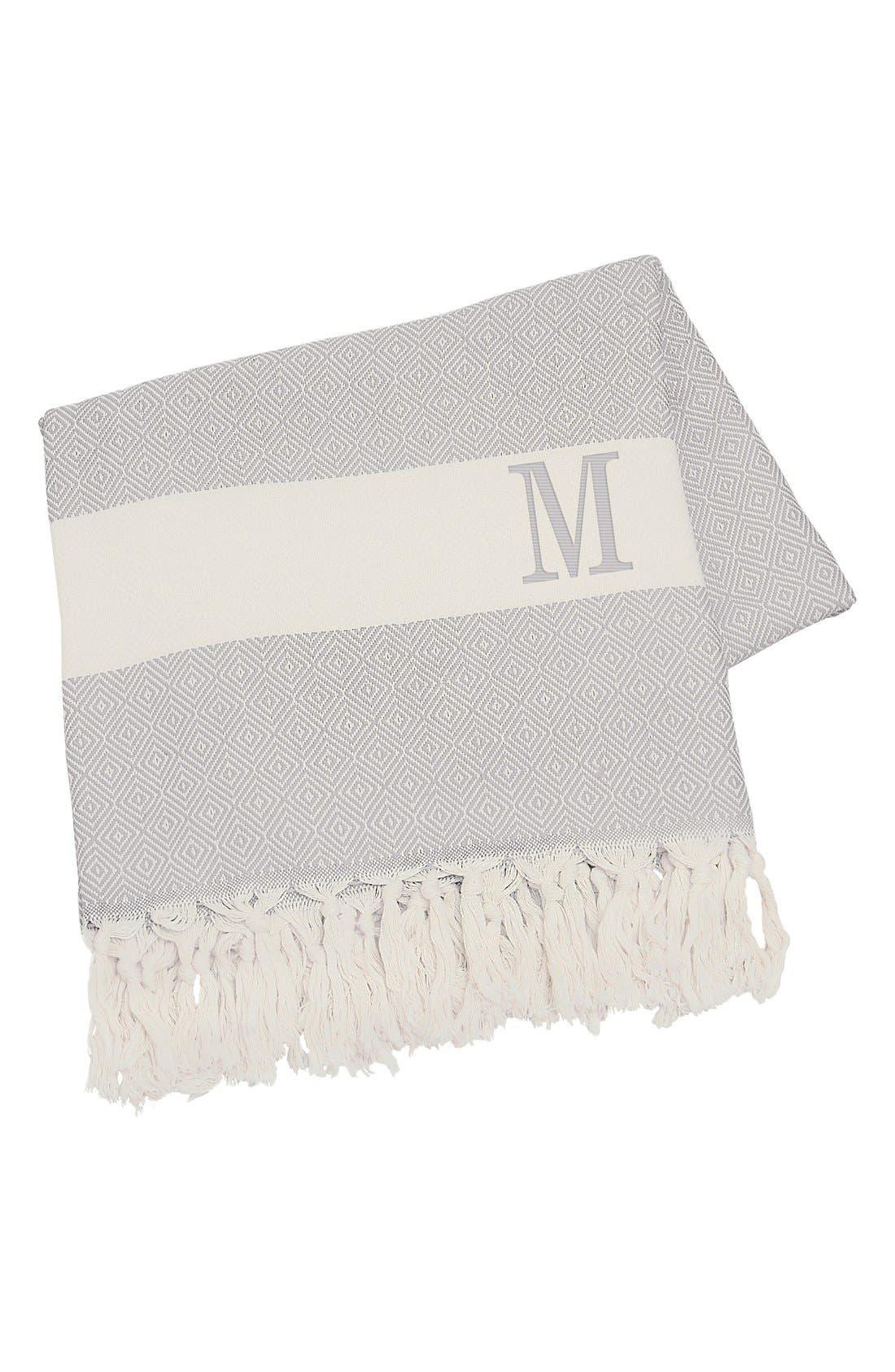 Monogram Turkish Cotton Throw,                             Main thumbnail 1, color,                             Grey - M