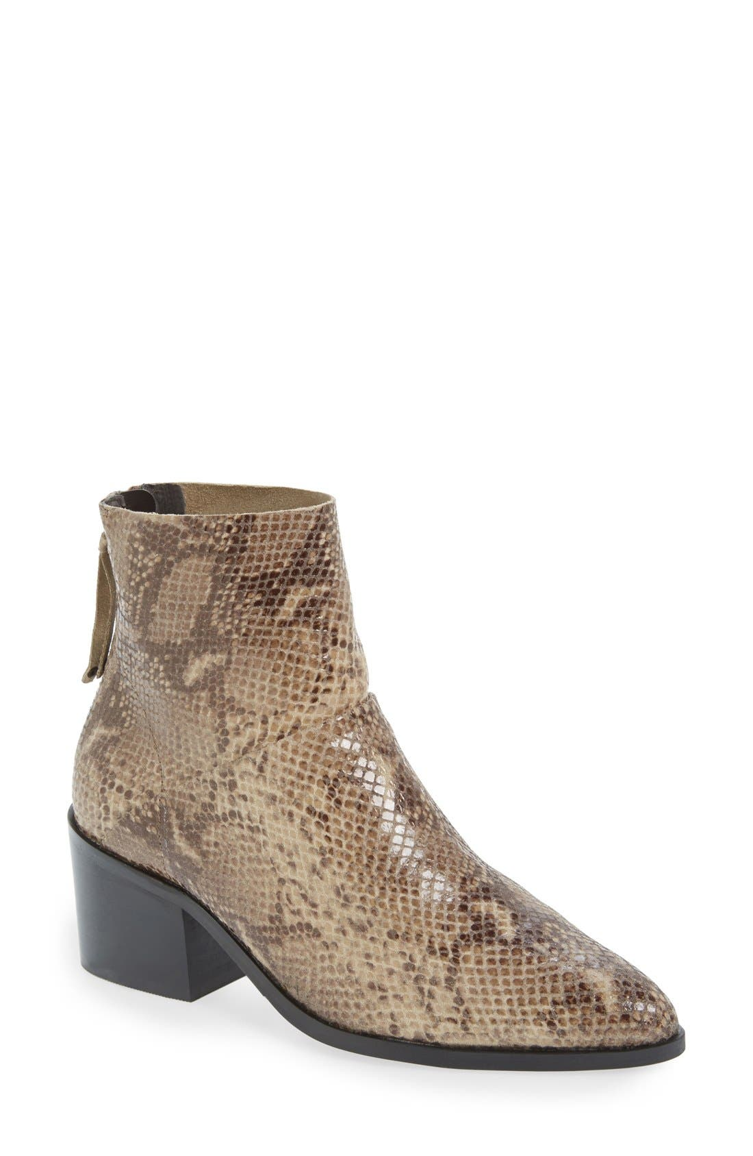 Main Image - Topshop 'Midnight' Snake Embossed Ankle Boot (Women)