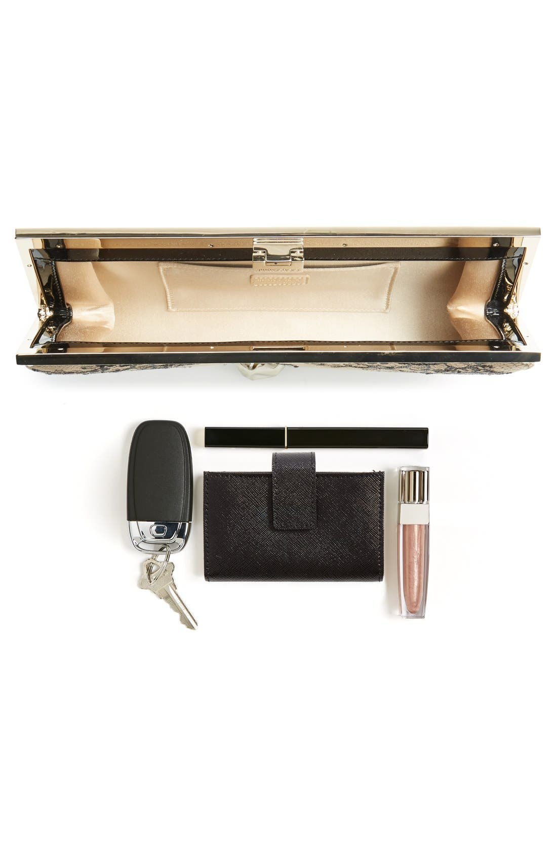 Camille Lace & Leather Clutch,                             Alternate thumbnail 7, color,                             Black