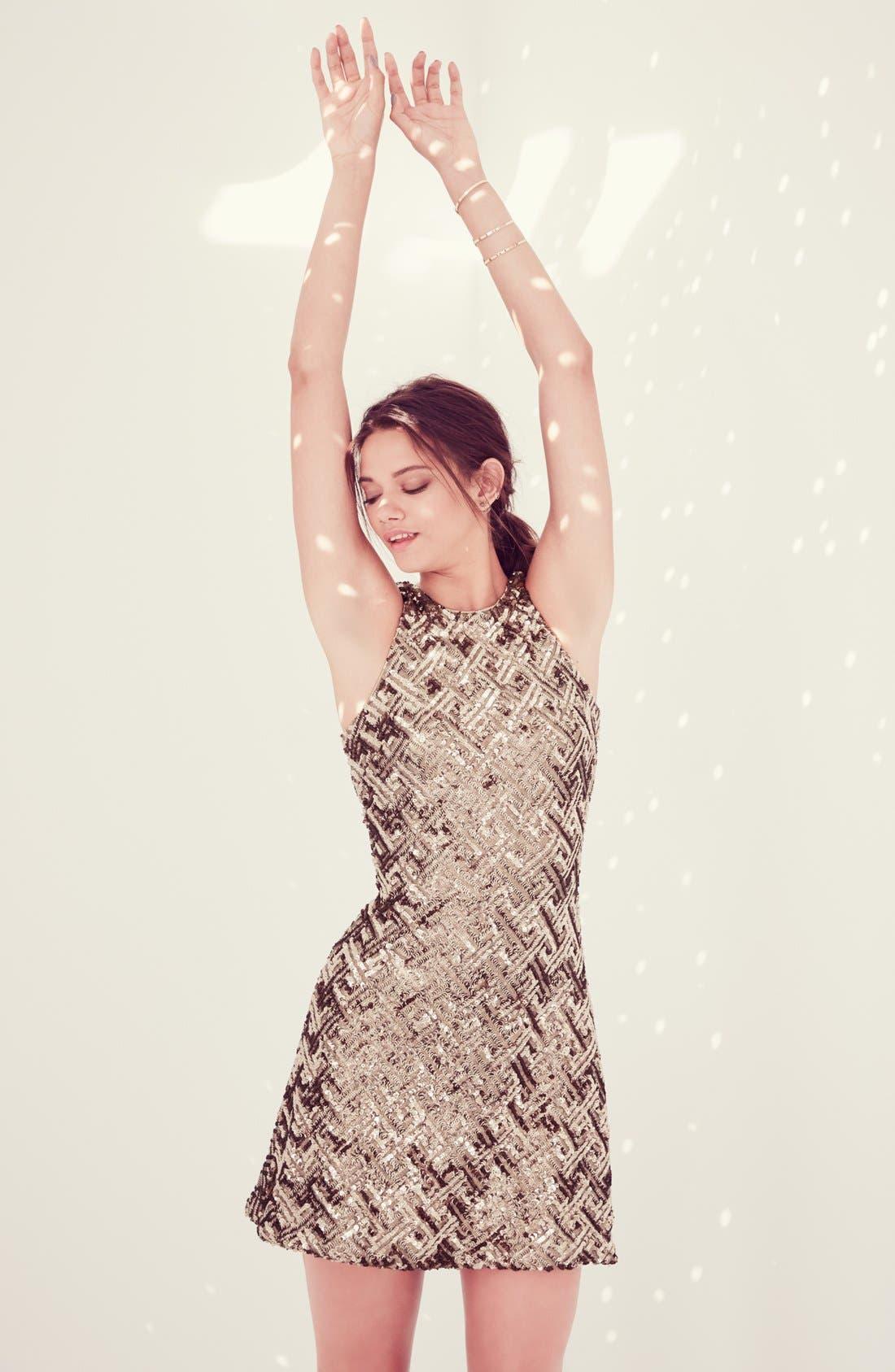 Alternate Image 7  - Dress the Population 'Mia' Sequin Cutaway Fit & Flare Dress
