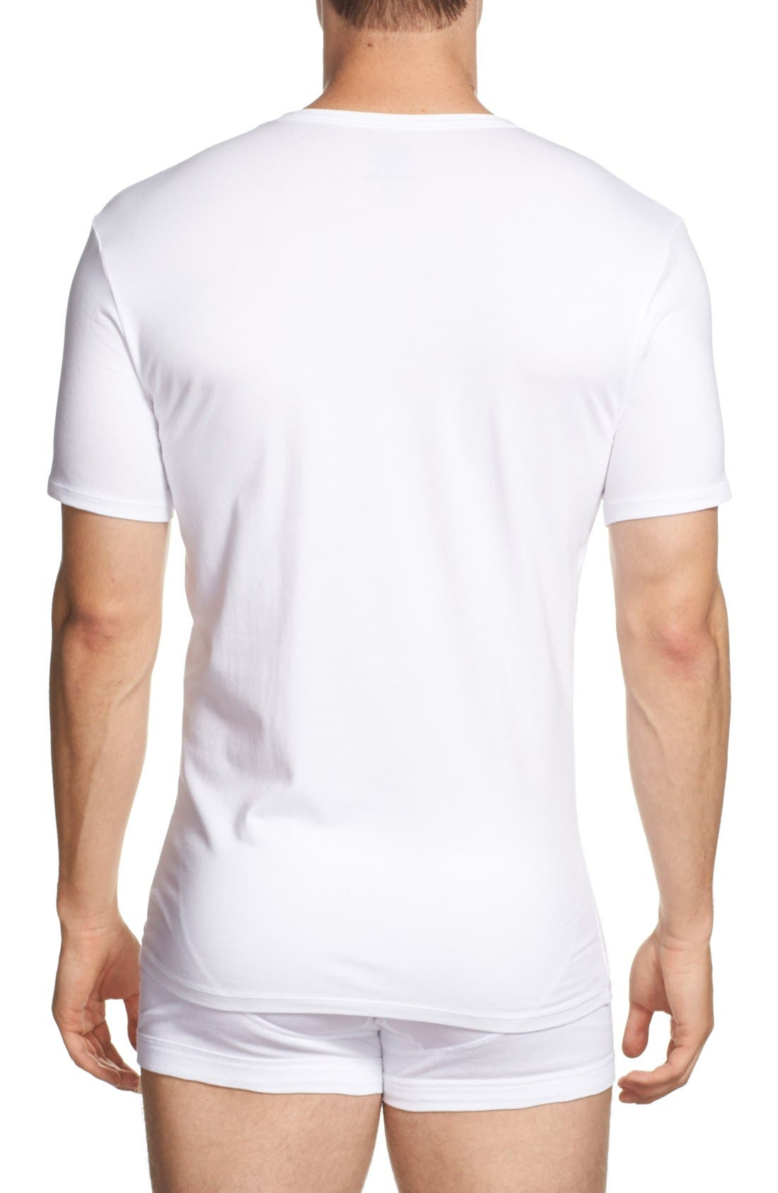 2-Pack Stretch Cotton Crewneck T-Shirt,                             Alternate thumbnail 2, color,                             White
