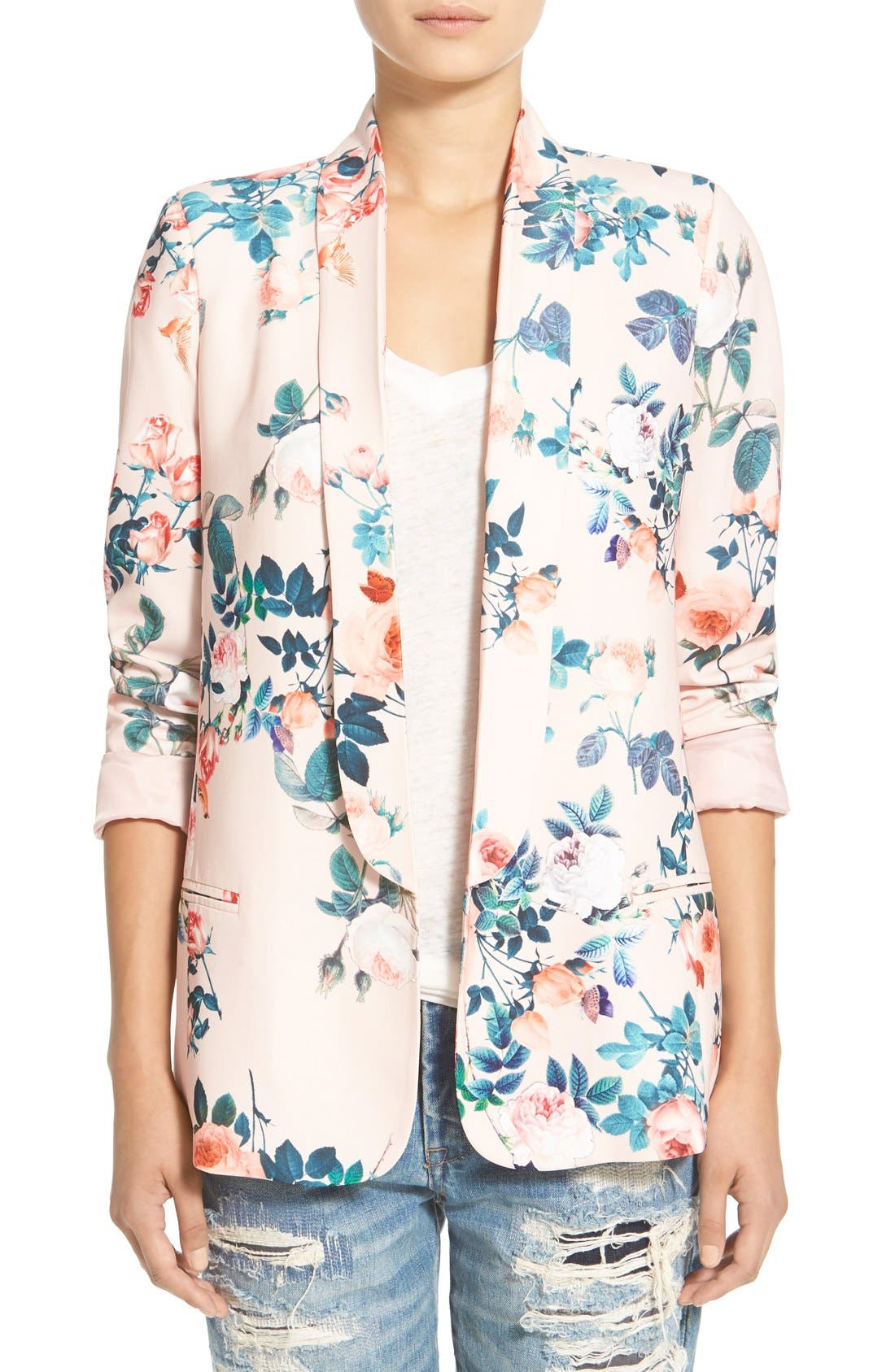 Main Image - Mural Floral Print Blazer