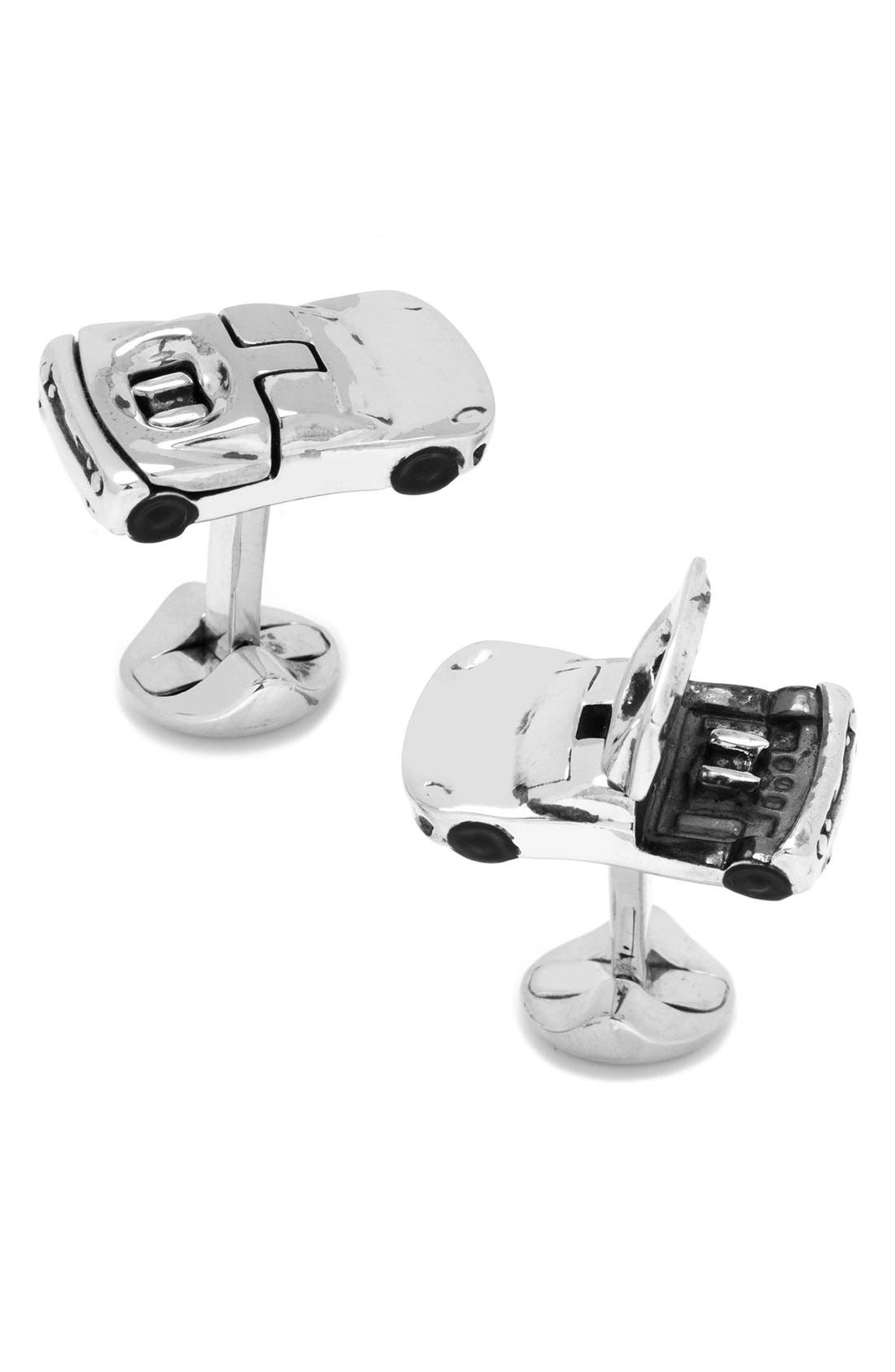 Sports Car Cuff Links,                         Main,                         color, Silver
