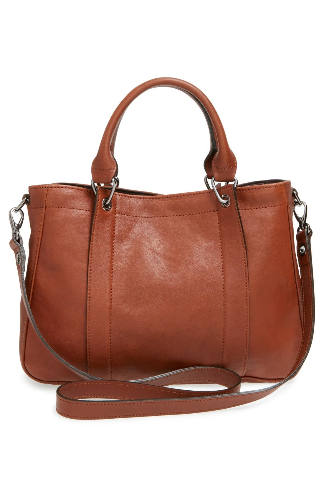 'Small 3D' Leather Tote,                             Alternate thumbnail 3, color,                             Cognac
