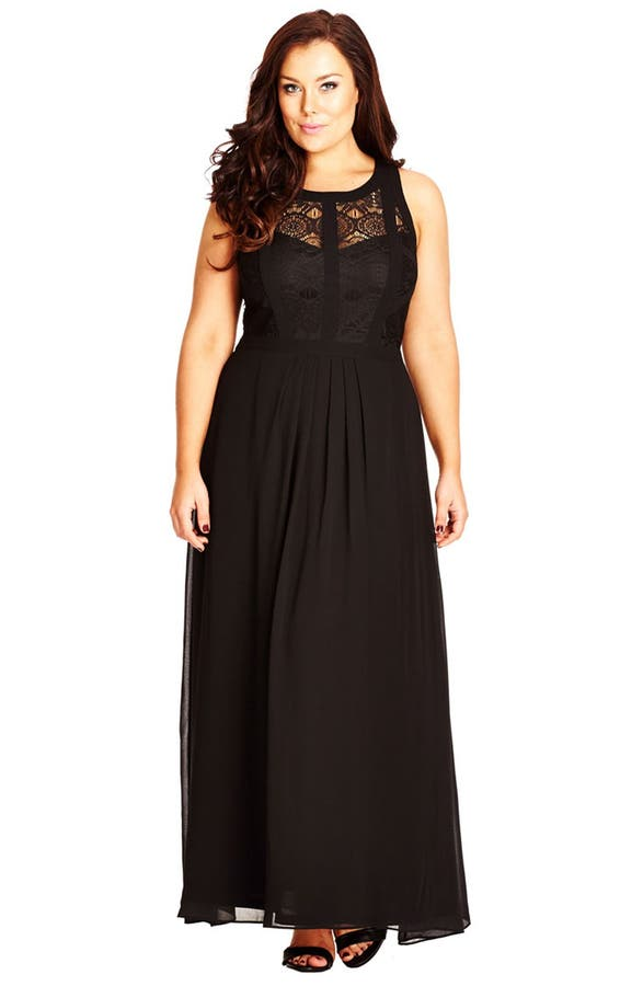 City Chic Paneled Lace Bodice Gown (Plus Size) | Nordstrom