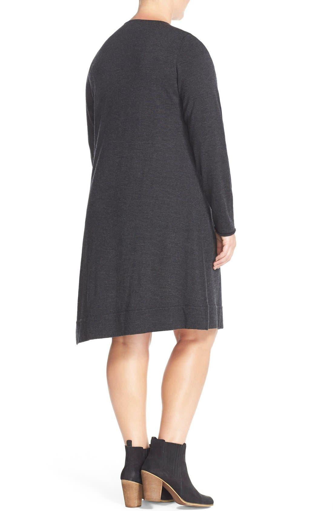 Alternate Image 2  - Eileen Fisher Merino Jersey Jewel Neck Dress (Plus Size)