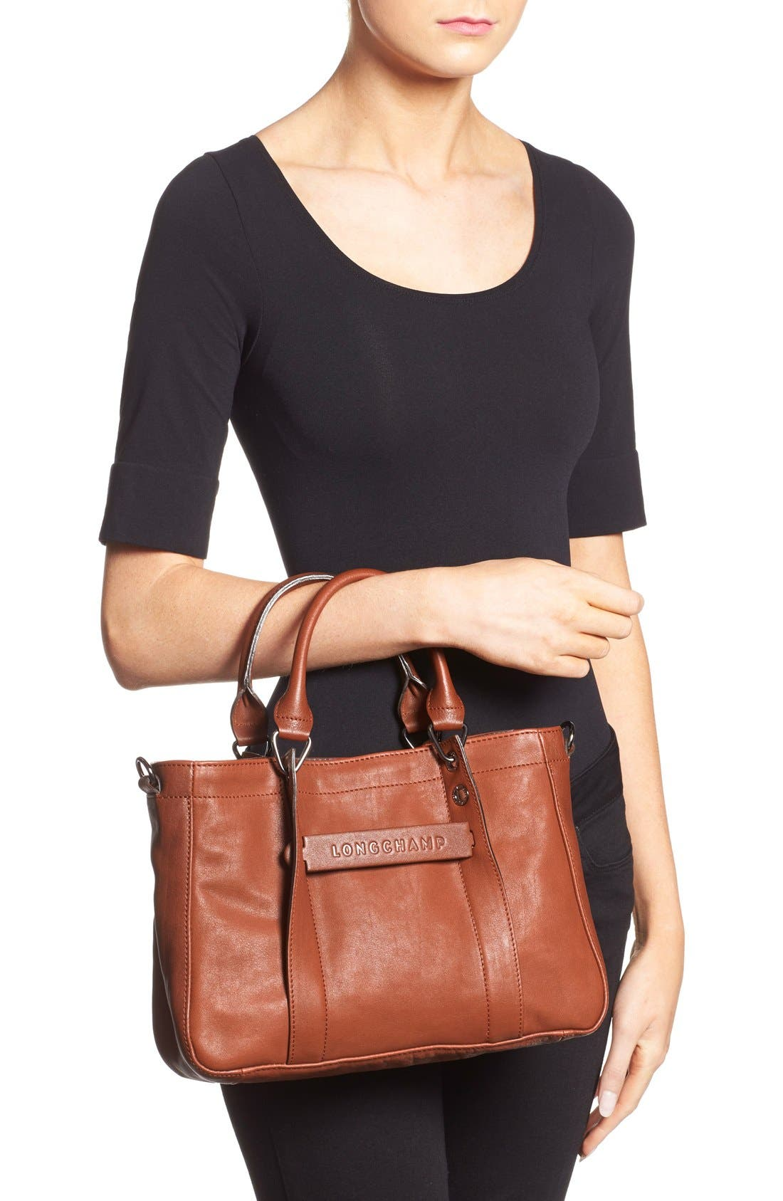 'Small3D' Leather Tote,                             Alternate thumbnail 2, color,                             Cognac