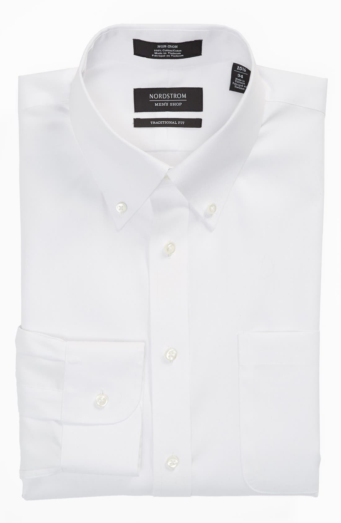 Traditional Fit Non-Iron Solid Dress Shirt,                             Alternate thumbnail 4, color,                             White