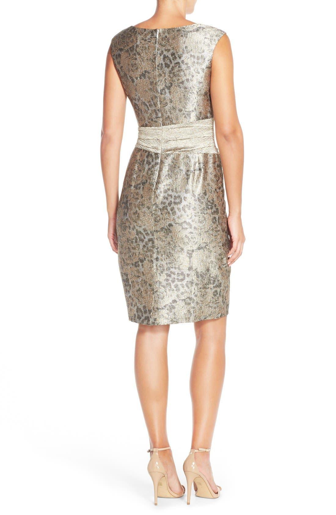 Alternate Image 2  - Ellen Tracy Metallic Jacquard Sheath Dress (Regular & Petite)