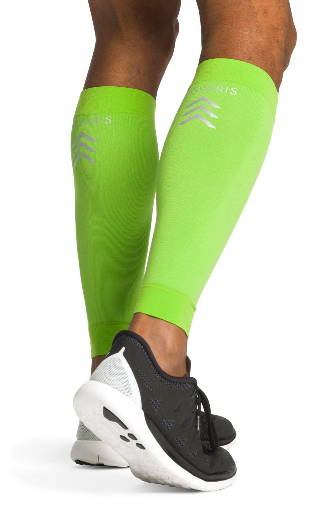 'Sports' Graduated Compression Performance Calf Sleeve,                             Alternate thumbnail 2, color,                             Lime