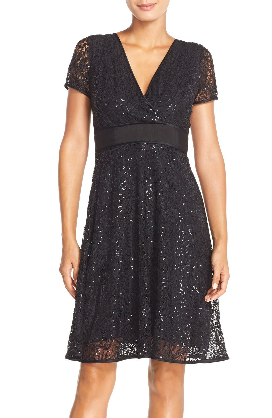 Main Image - Nue by Shani Sequin Lace Fit & Flare Dress