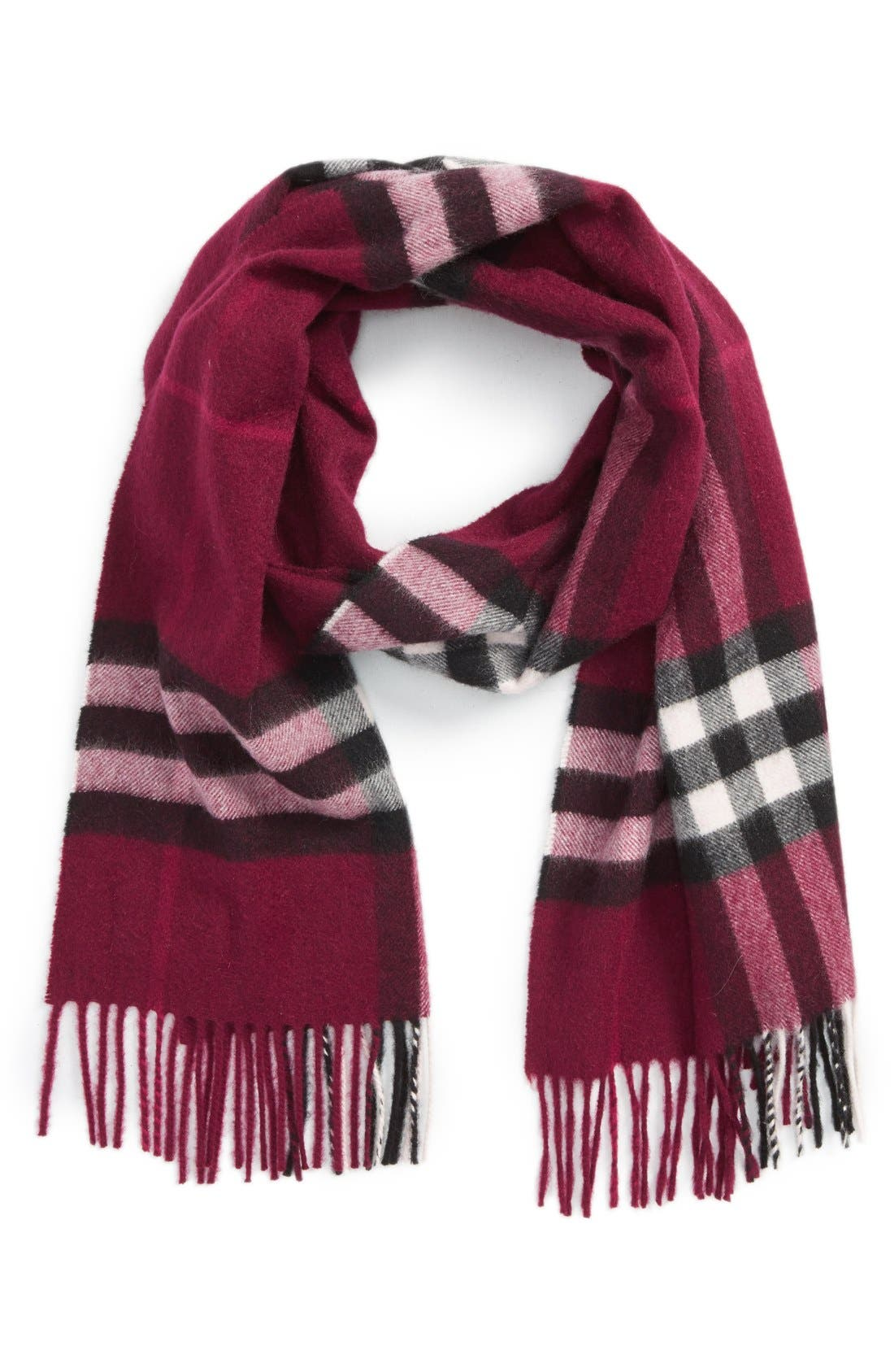 Giant Check Cashmere Scarf,                         Main,                         color, Plum Check