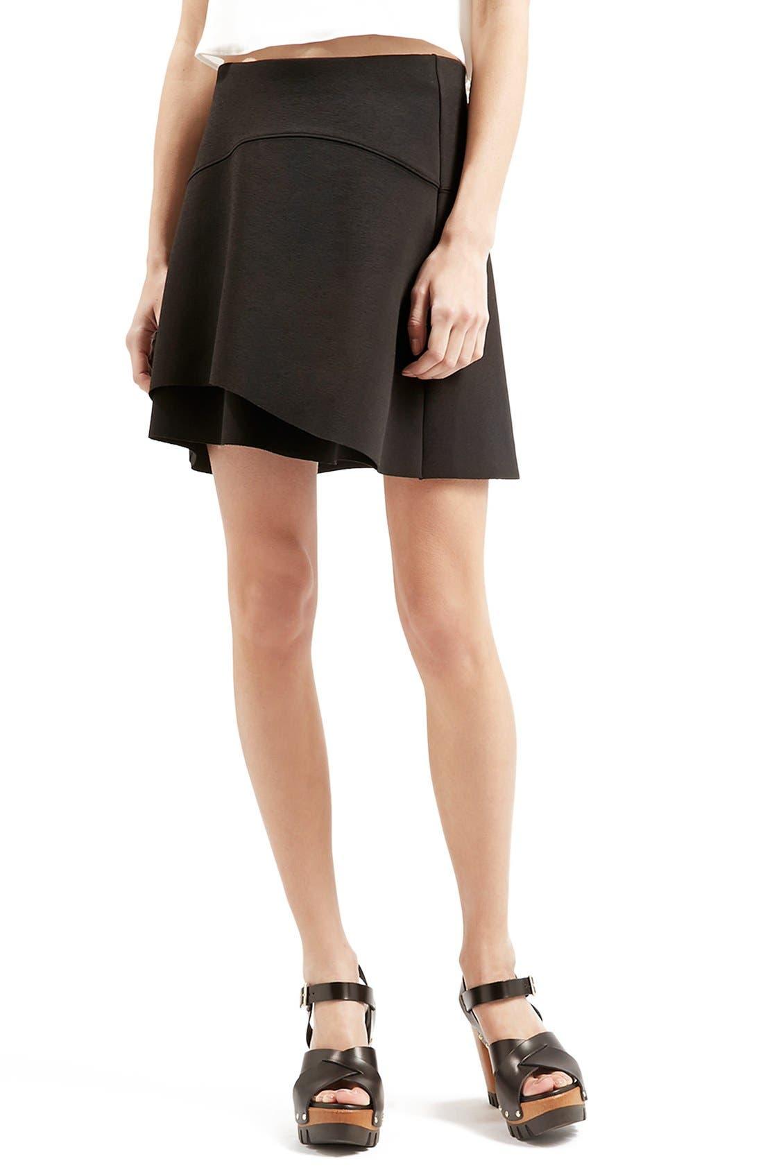 Alternate Image 1 Selected - Topshop Curved Hem Skater Skirt