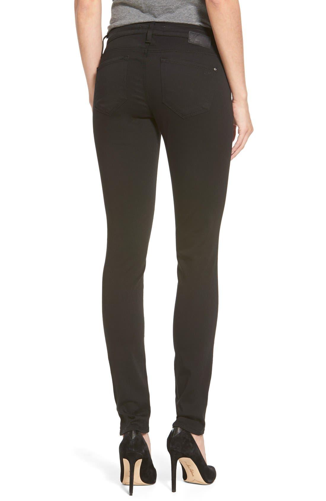 'Alexa' Mid Rise Skinny Jeans,                             Alternate thumbnail 2, color,                             Jet Black