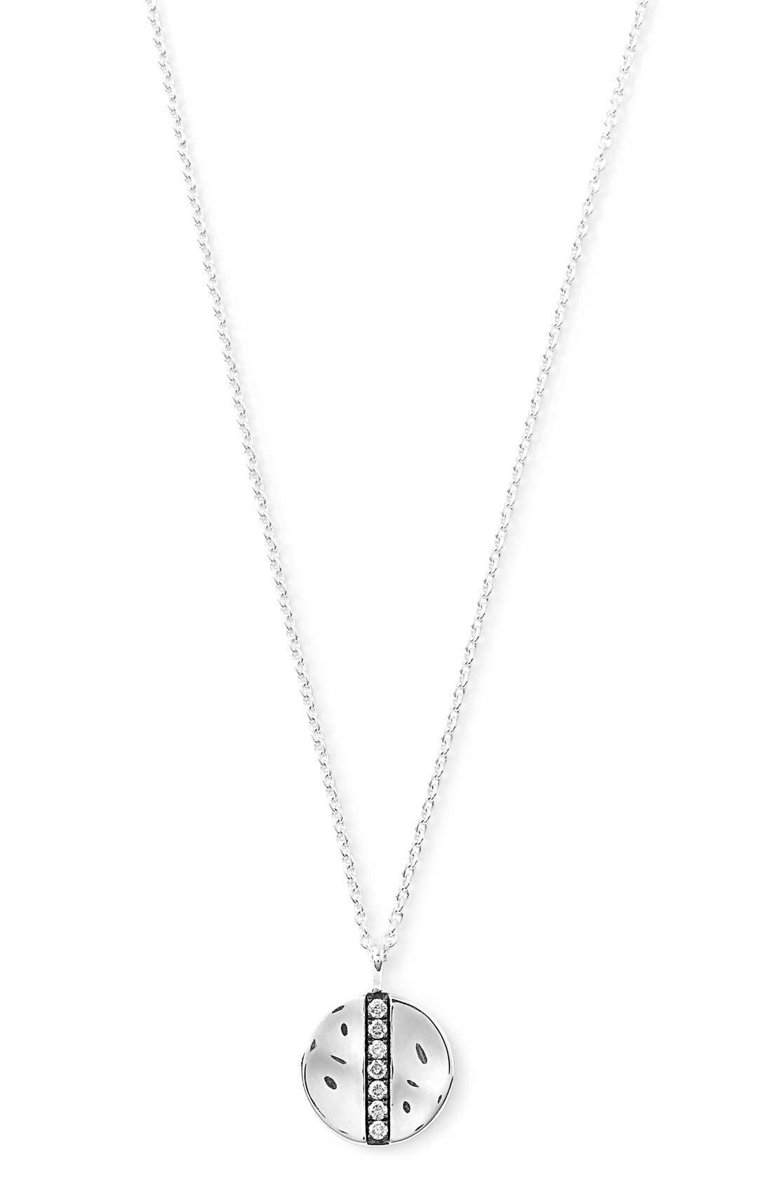 'Glamazon - Stardust' Diamond Disc Pendant Necklace,                             Main thumbnail 1, color,                             Silver
