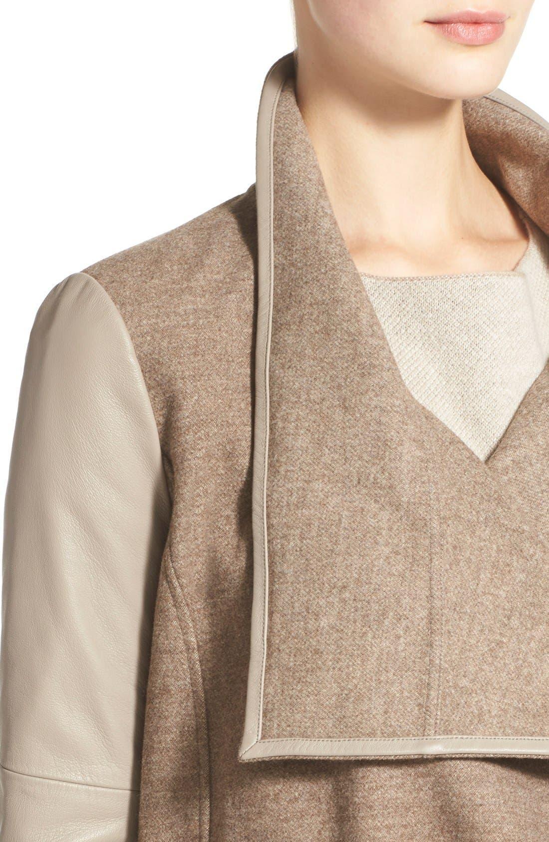 Alternate Image 4  - Vince Leather Trim Drape Neck Jacket