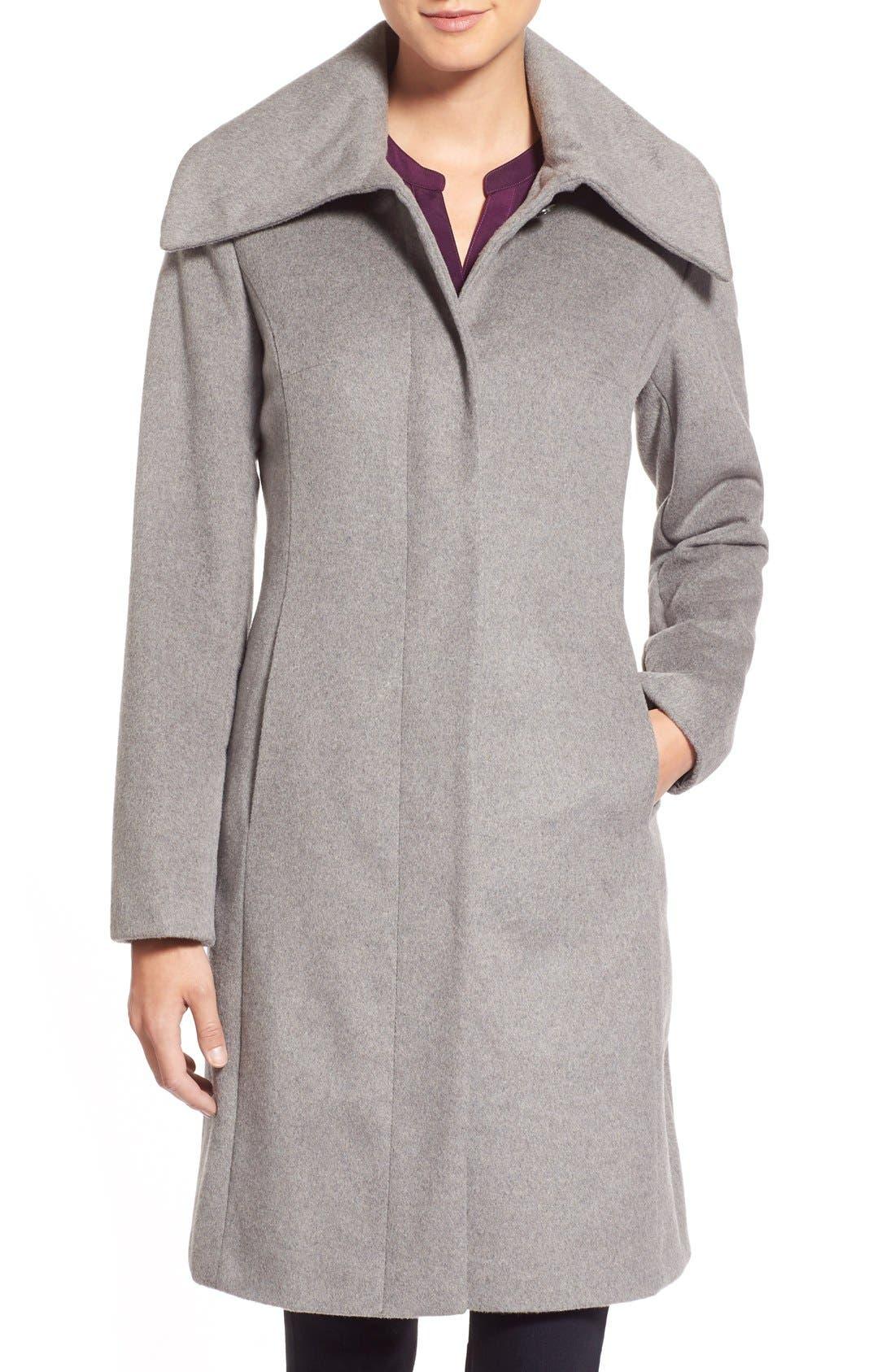 Single Breasted Wool Blend Coat,                         Main,                         color, Platinum