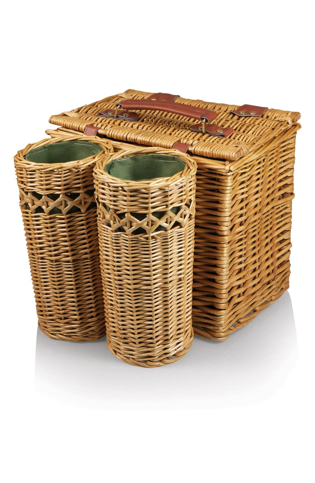 'Vino' Wine & Cheese Picnic Basket,                             Alternate thumbnail 2, color,                             Green