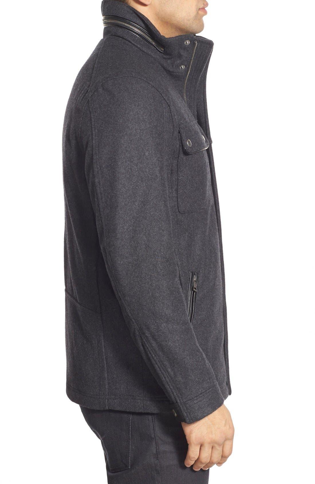 Melton Coat,                             Alternate thumbnail 3, color,                             Charcoal