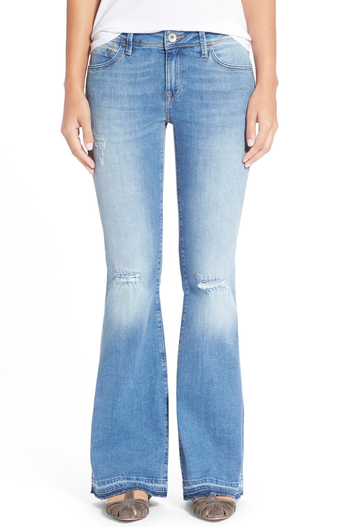 'Peace' Stretch Flare Leg Jeans,                             Main thumbnail 1, color,                             Light Ripped