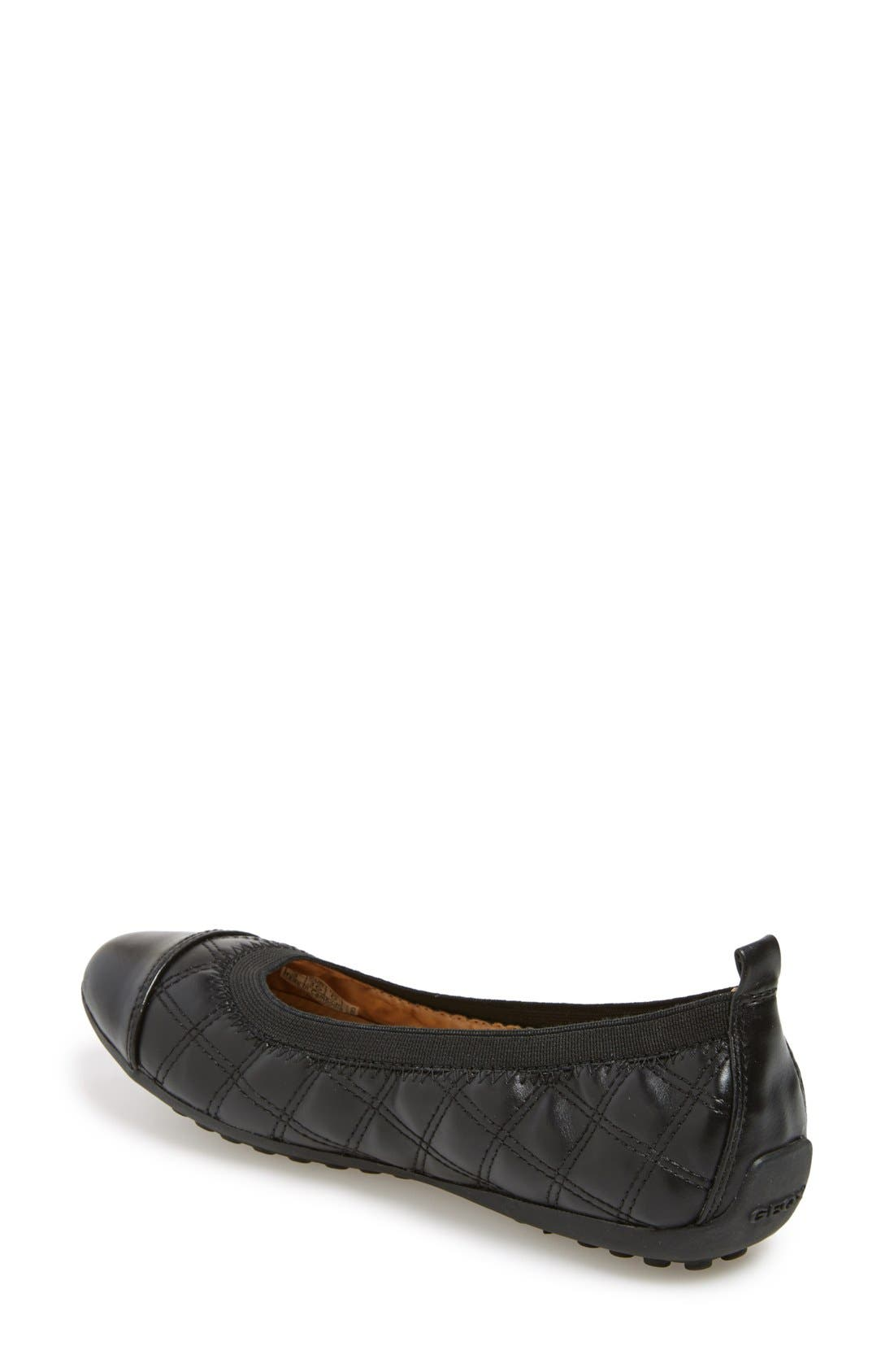 'Piuma' Ballerina Flat,                             Alternate thumbnail 2, color,                             Black Synthetic Leather