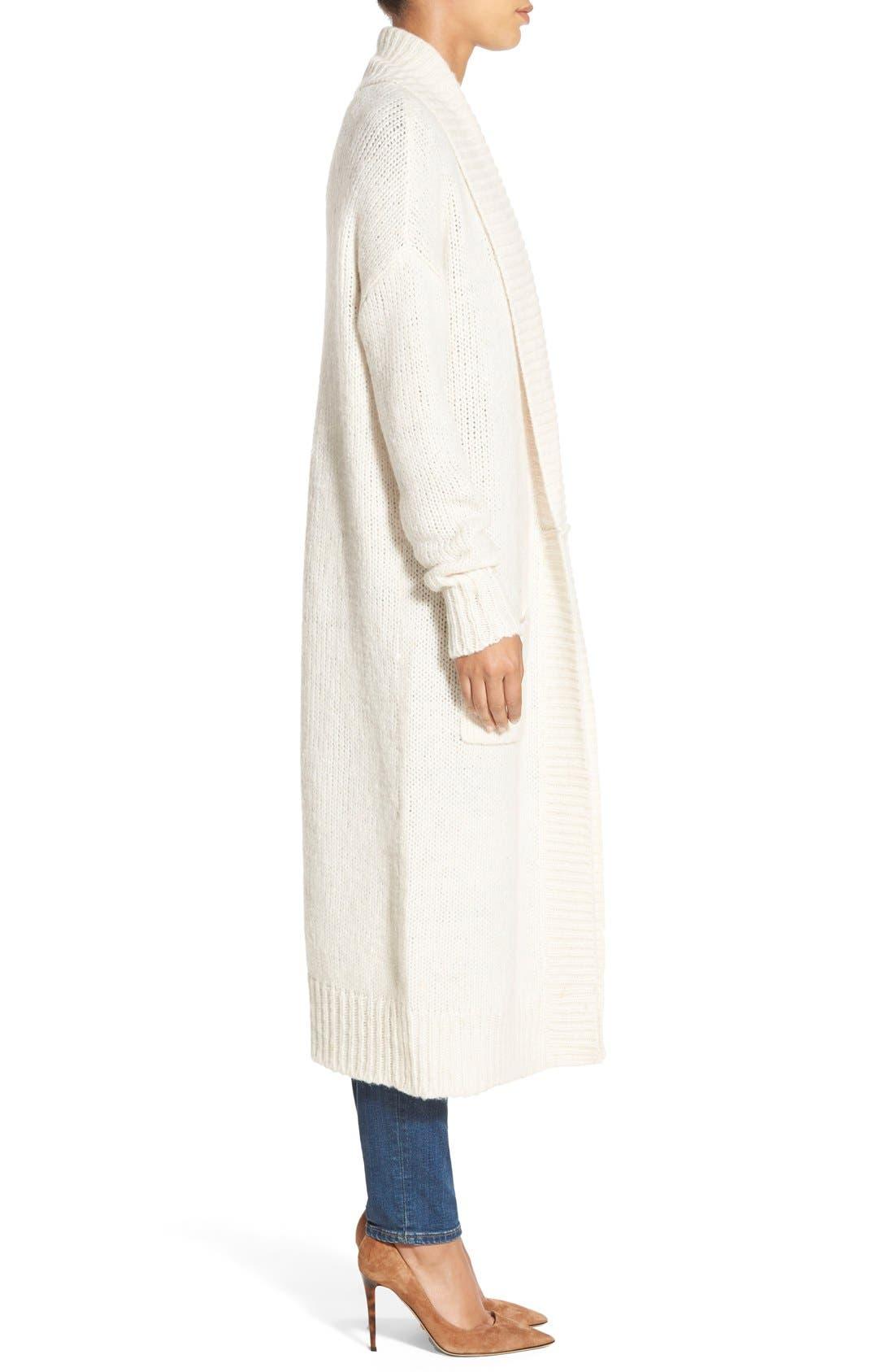 Long Merino Wool Blend Cardigan,                             Alternate thumbnail 3, color,                             Heather Oatmeal