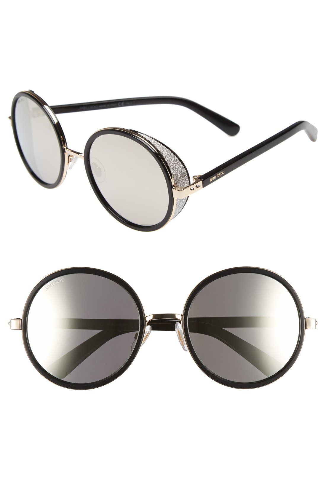 'Andies' 54mm Round Sunglasses,                         Main,                         color, Rose Gold/ Shiny Black