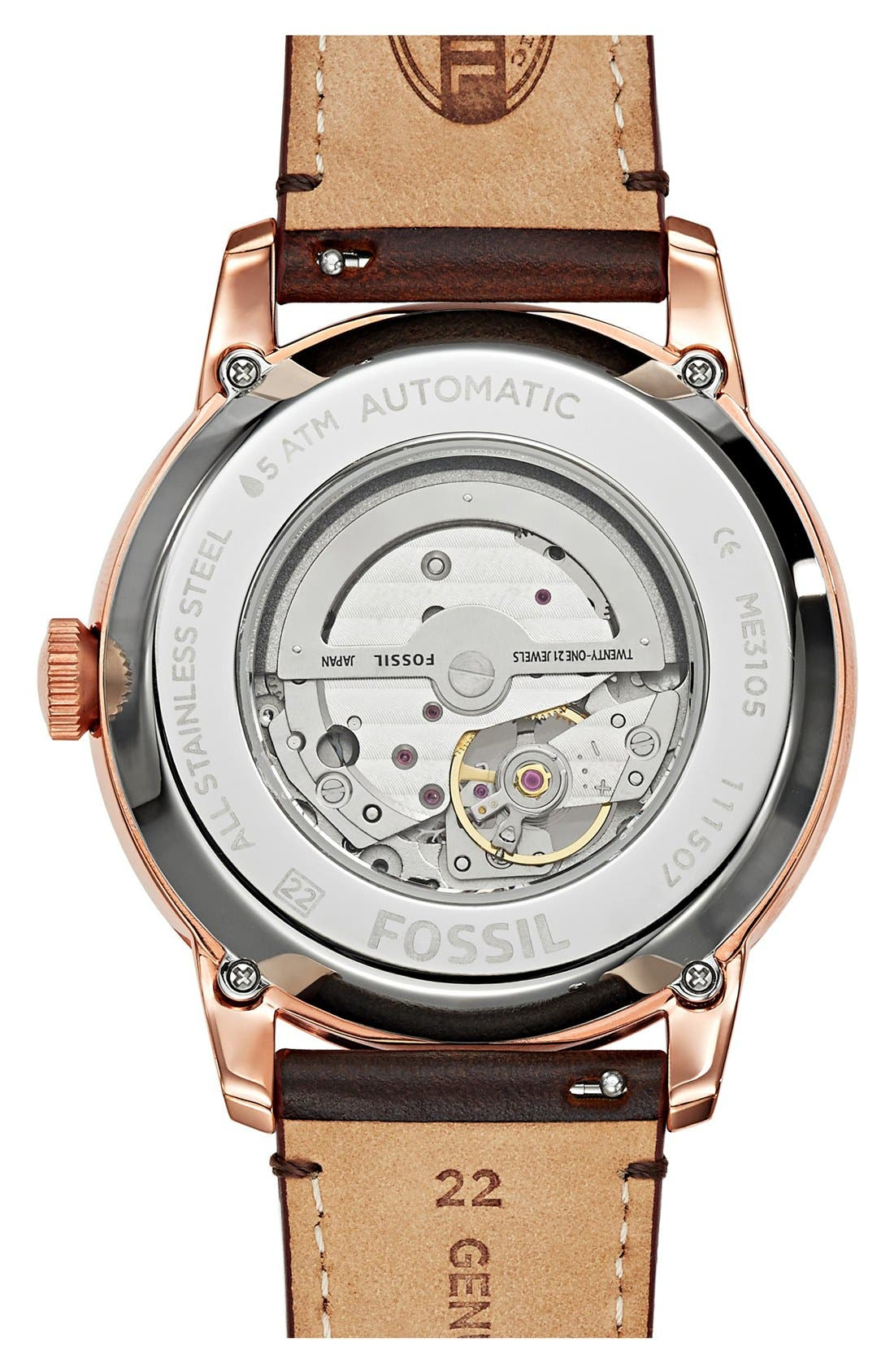 Alternate Image 2  - Fossil 'Townsman' Automatic Leather Strap Watch, 44mm