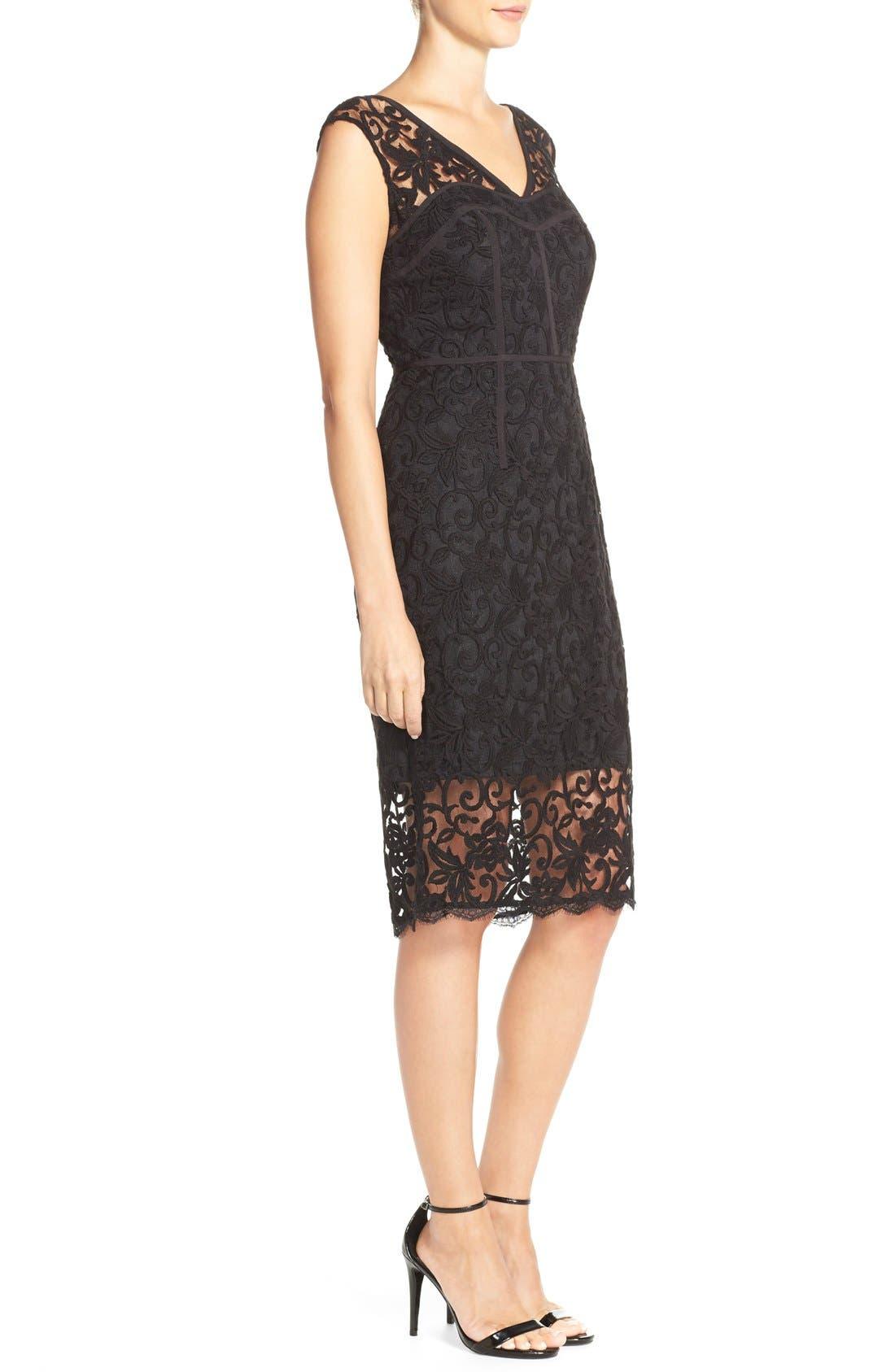 Alternate Image 2  - Adrianna Papell Illusion Lace Sheath Dress