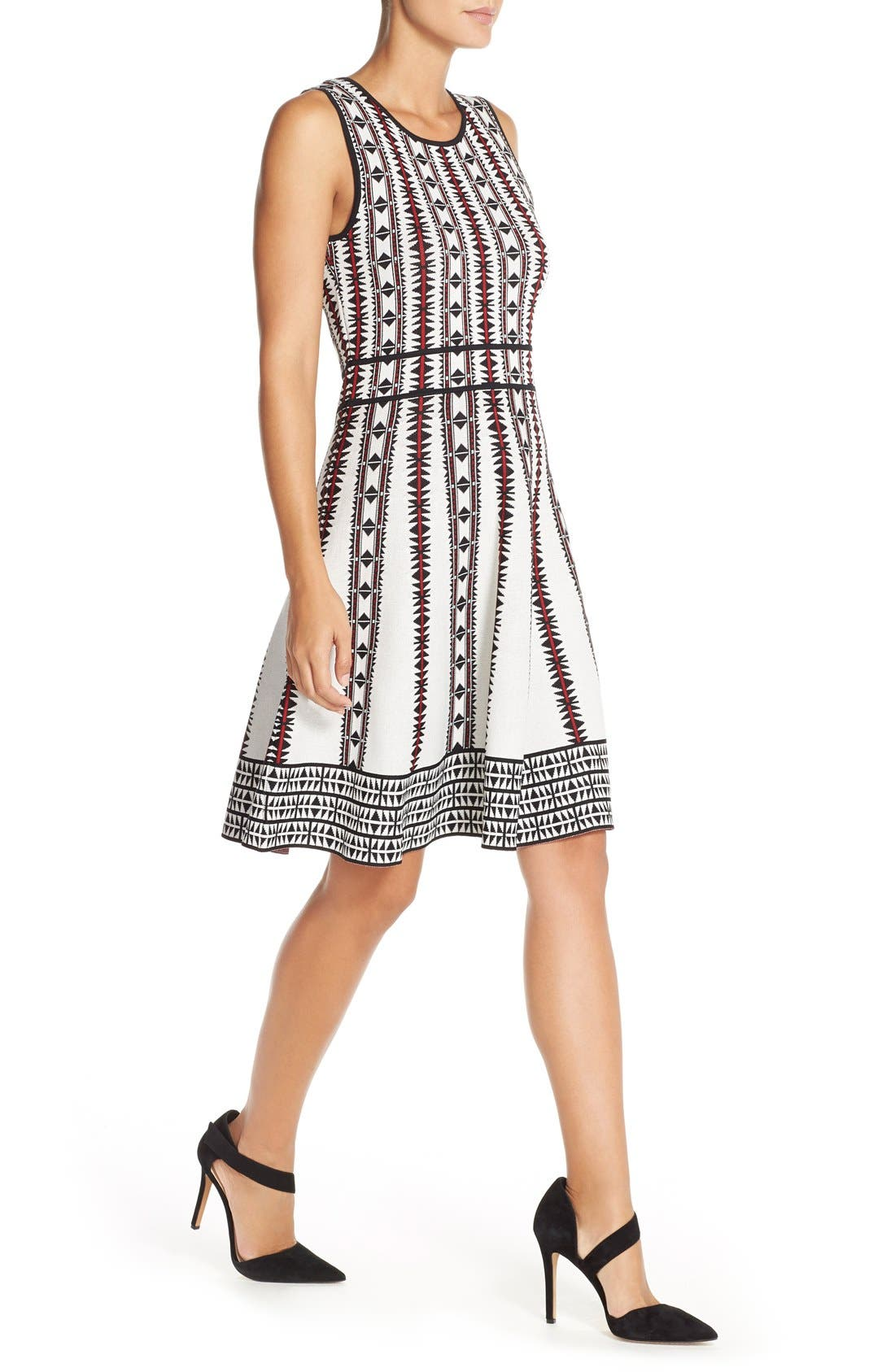 Alternate Image 5  - Vince Camuto Geometric Fit & Flare Sweater Dress