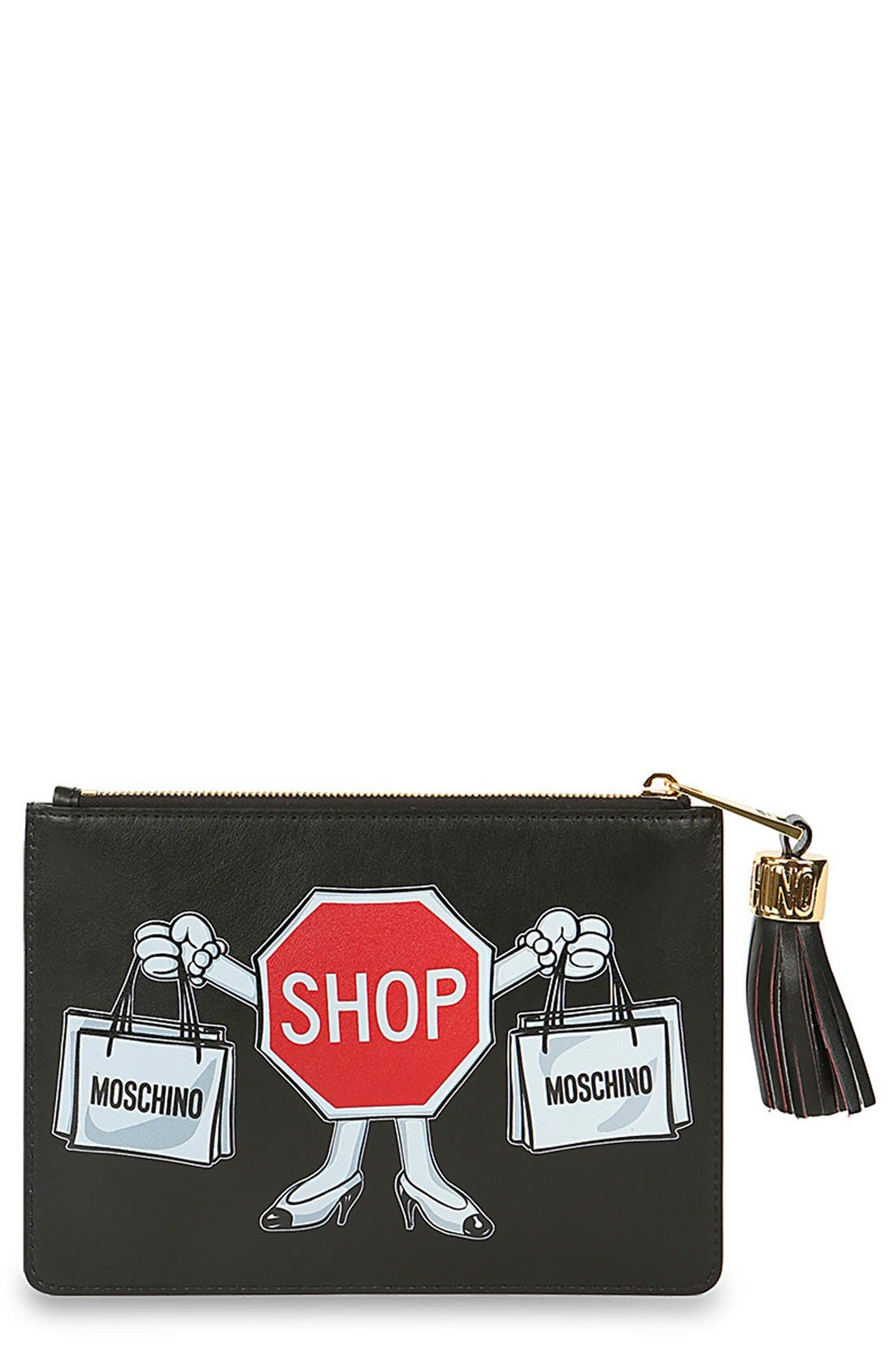 Alternate Image 1 Selected - MoschinoGraphicLeather Clutch