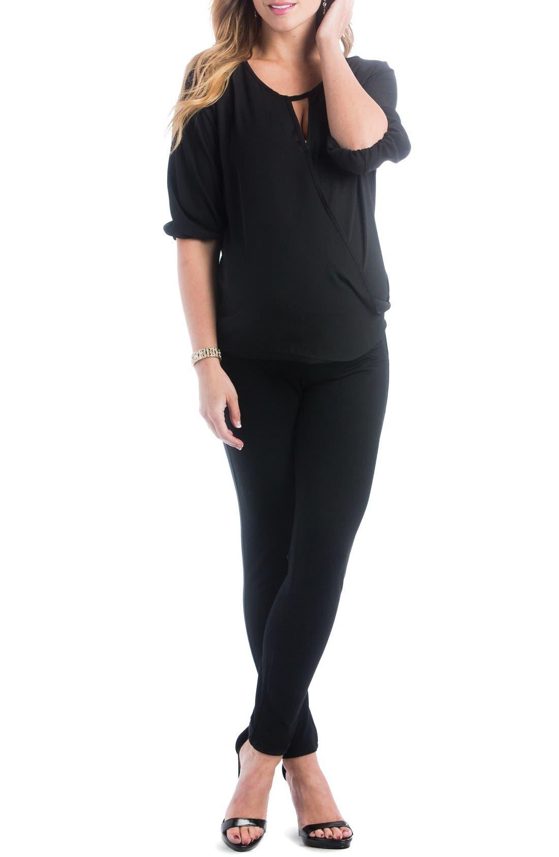 'Kylie' Surplice Maternity Top,                         Main,                         color, Black