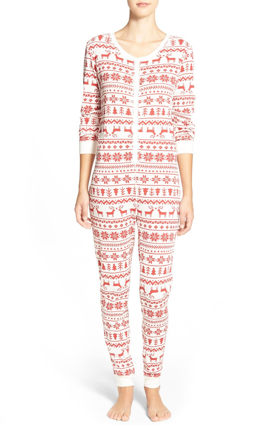 Holiday Thermal One-Piece Pajamas,                         Main,                         color, Red Beauty Fairisle Sketch
