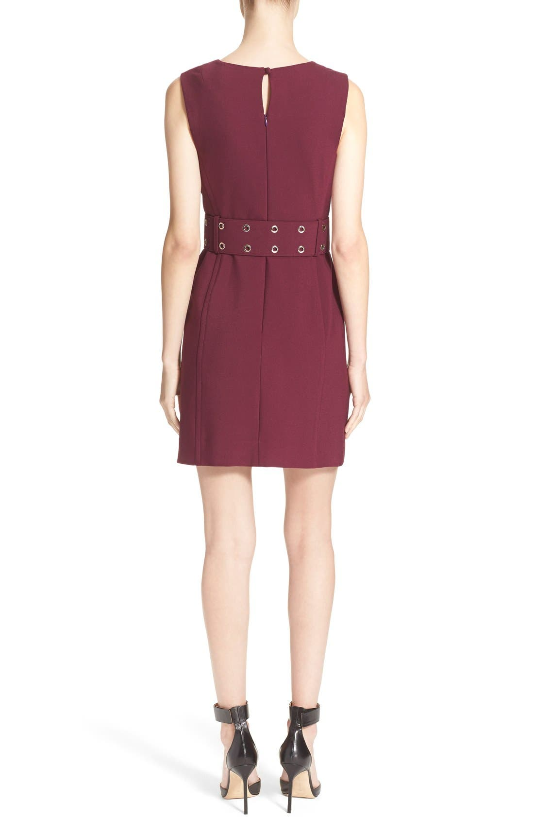 Double Crepe Belted Minidress,                             Alternate thumbnail 2, color,                             Burgundy