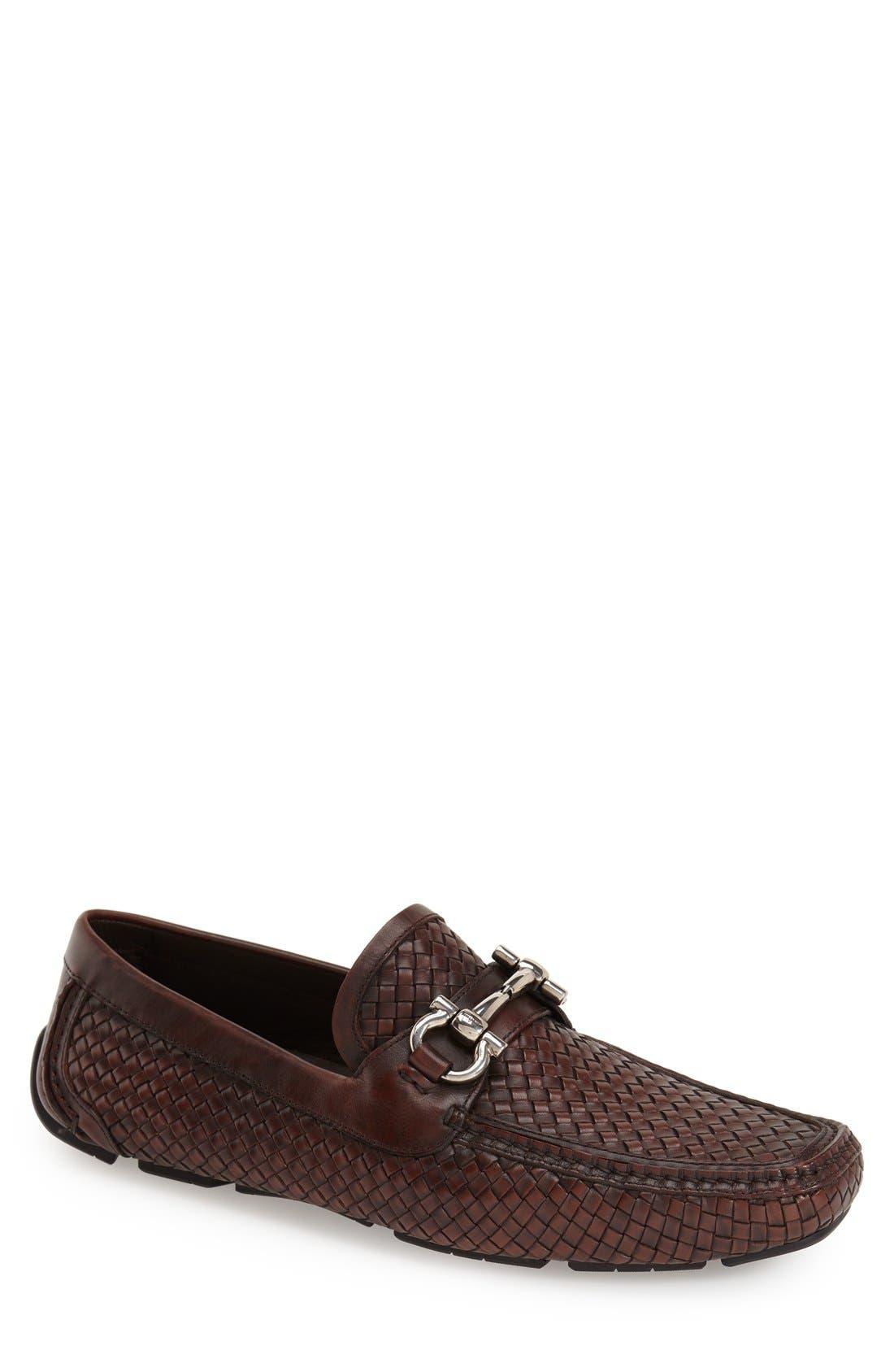 'Parigi' Woven Bit Loafer,                             Main thumbnail 1, color,                             Brown Hen/ T Moro Leather